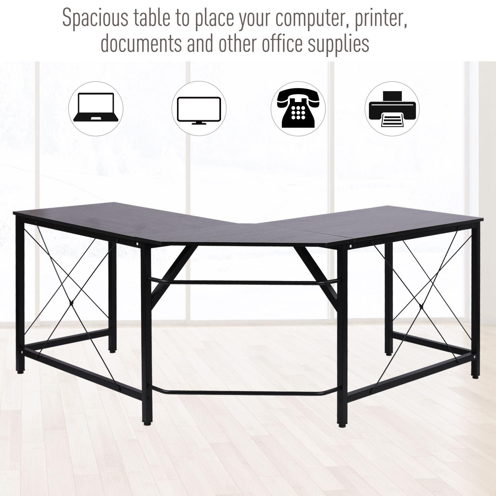 L-Shaped-Computer-Desk-Office-Wood-Corner-PC-Workstation-Large-Gaming-Desk-Table miniature 4