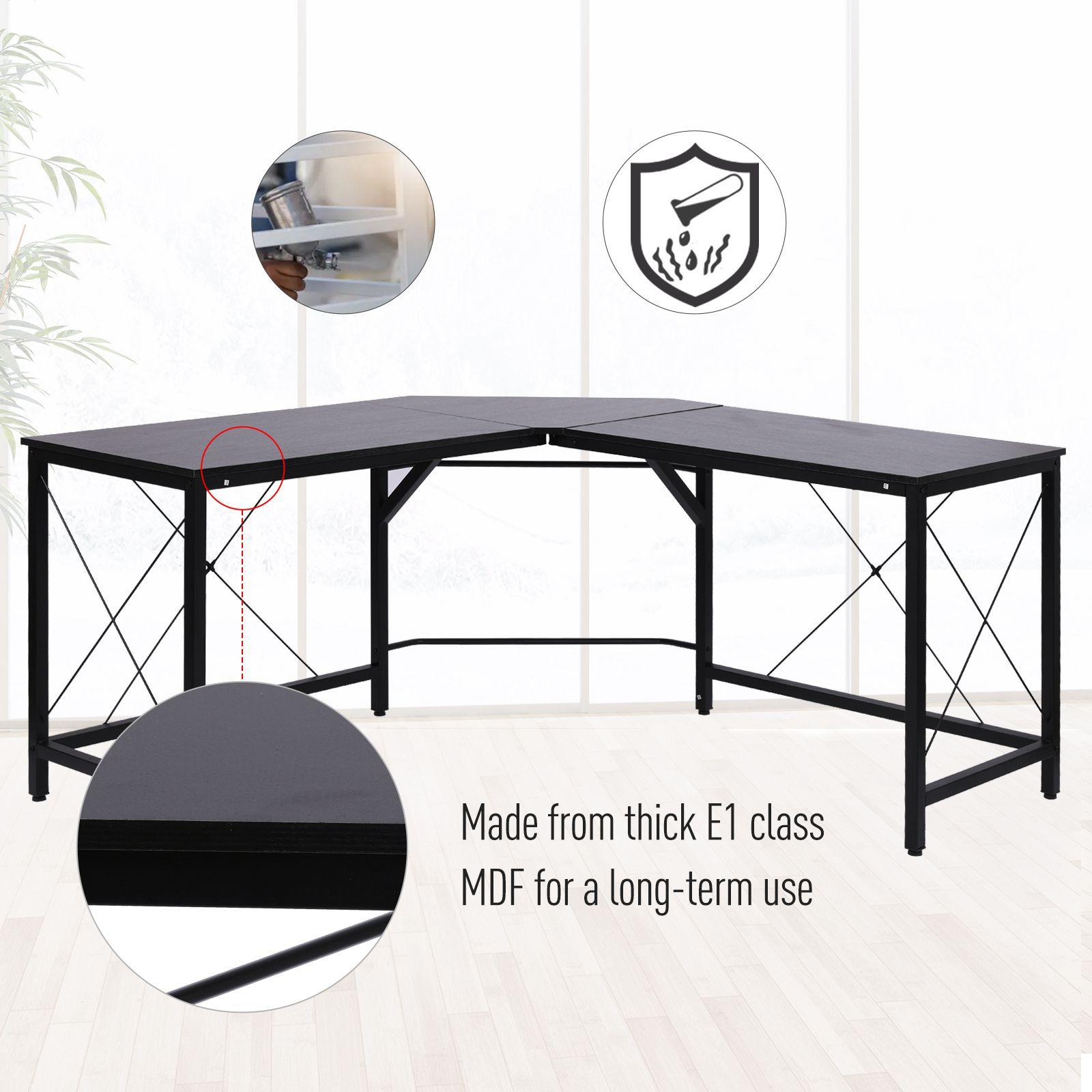 L-Shaped-Computer-Desk-Office-Wood-Corner-PC-Workstation-Large-Gaming-Desk-Table miniature 5