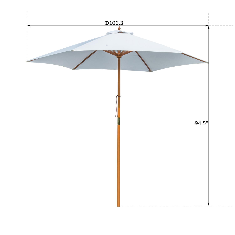 Summer-Clearance-9-039-x-8-039-H-Wooden-Round-Market-Patio-Sun-Umbrella-Garden-Parasol thumbnail 3