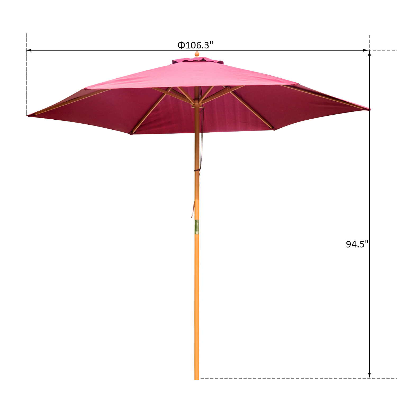 Summer-Clearance-9-039-x-8-039-H-Wooden-Round-Market-Patio-Sun-Umbrella-Garden-Parasol thumbnail 15