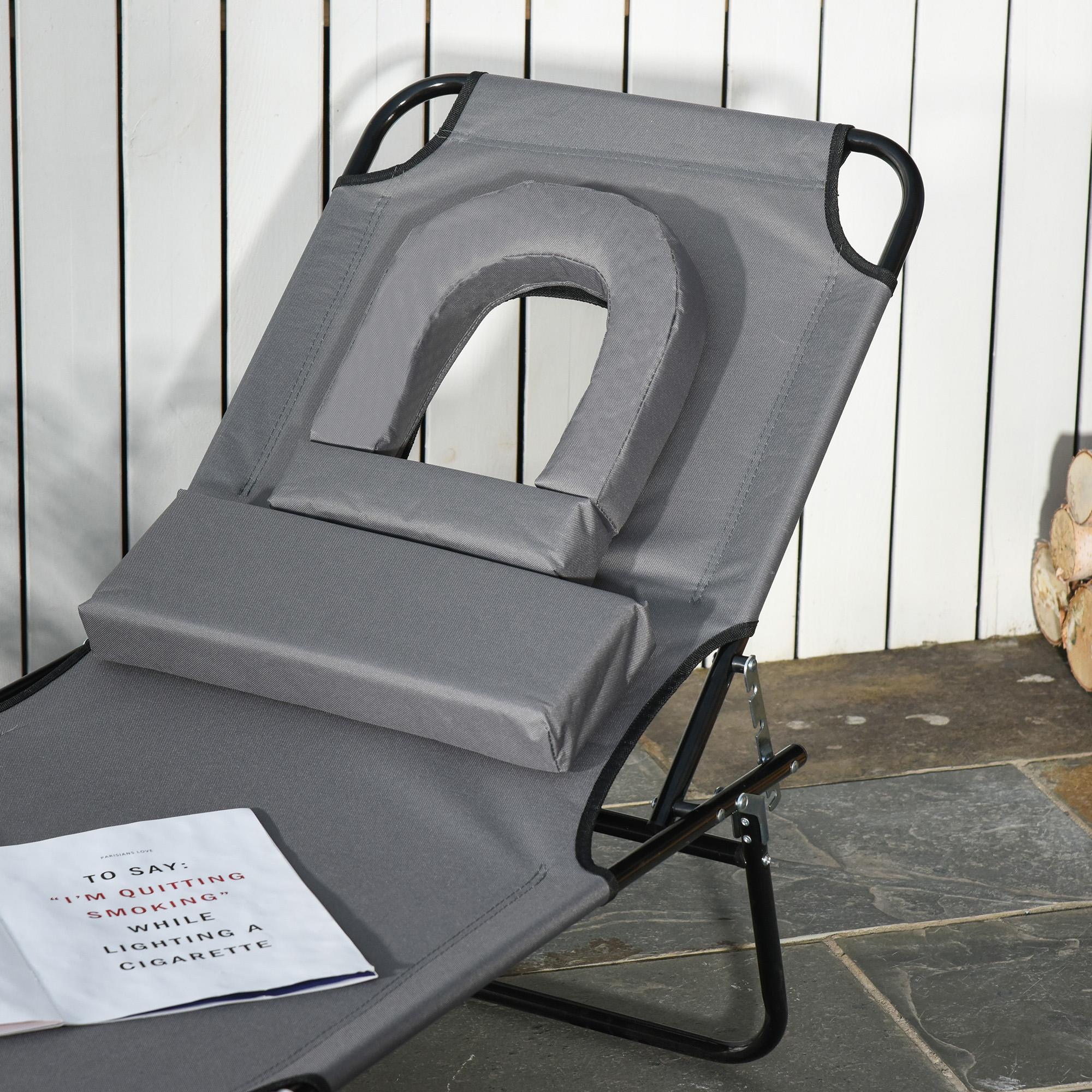 miniatura 39 - Silla Reclinable Plegable Tumbona Reclinable Jardín Al Aire Libre Portátil Asiento Cama