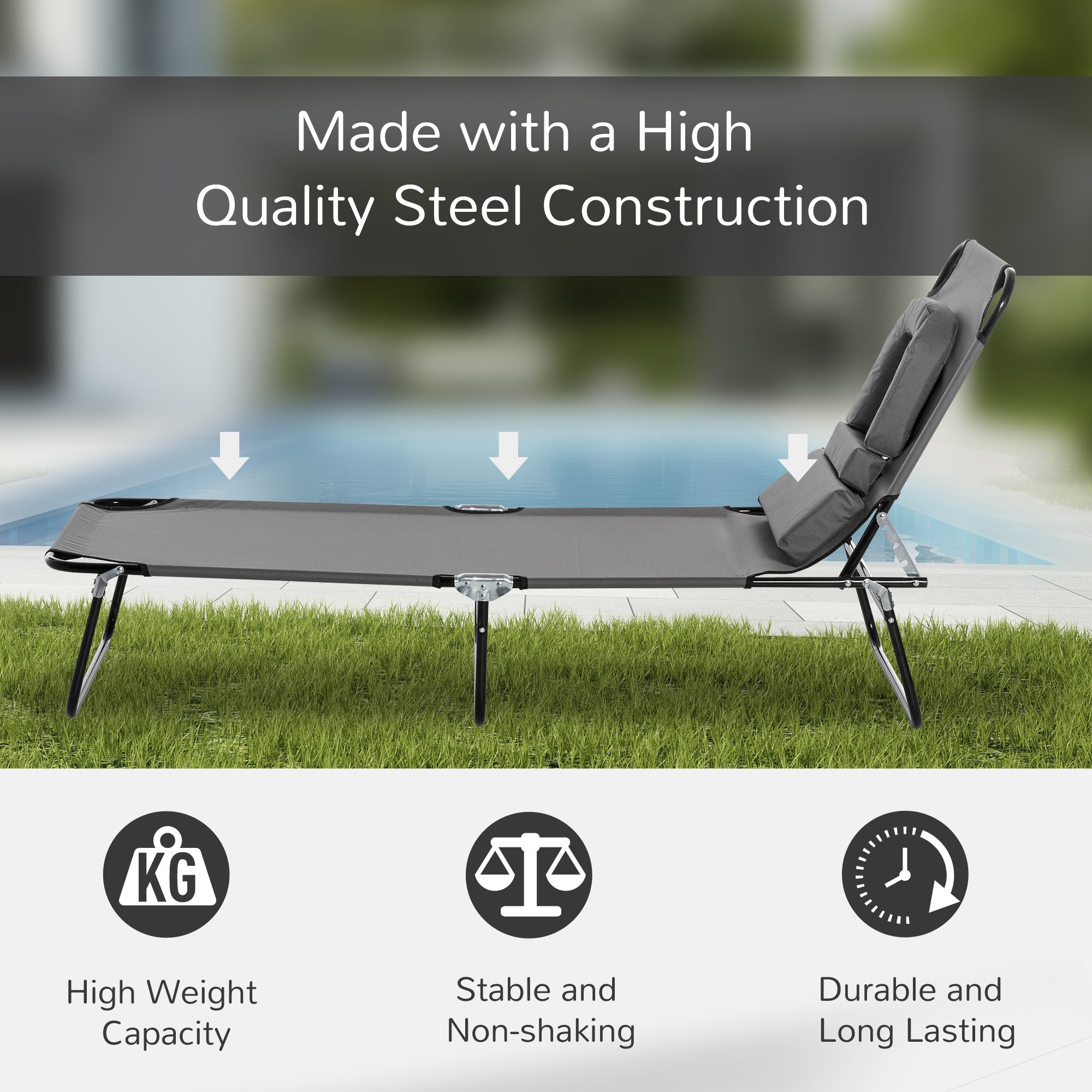 miniatura 35 - Silla Reclinable Plegable Tumbona Reclinable Jardín Al Aire Libre Portátil Asiento Cama