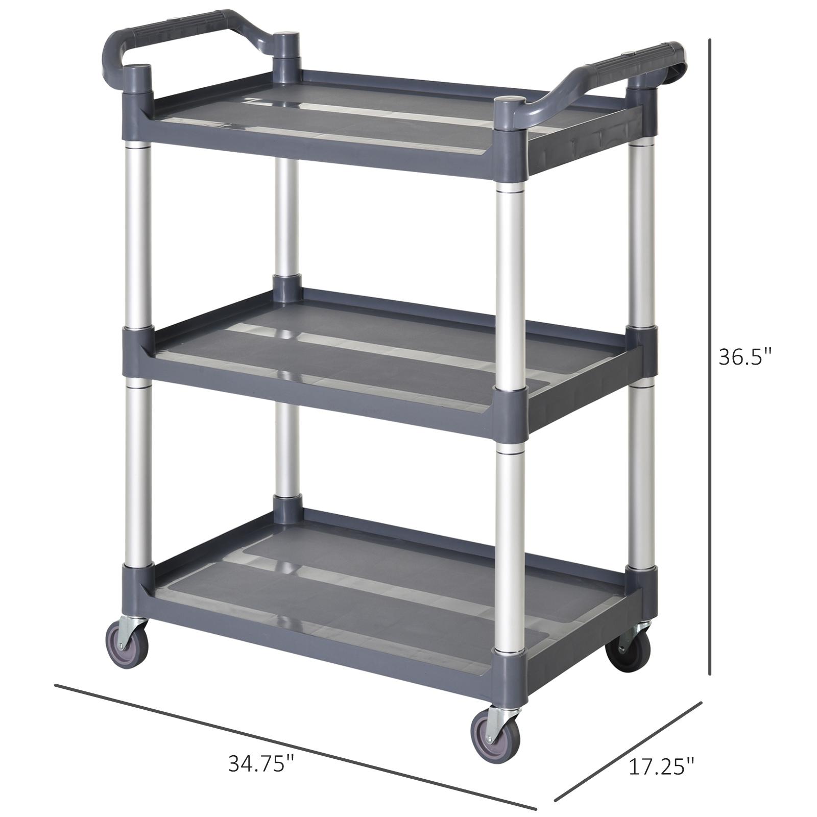 HOMCOM-3-Tier-Metal-Trolley-Serving-Cart-Free-Moving-Kitchen-Livingroom thumbnail 2
