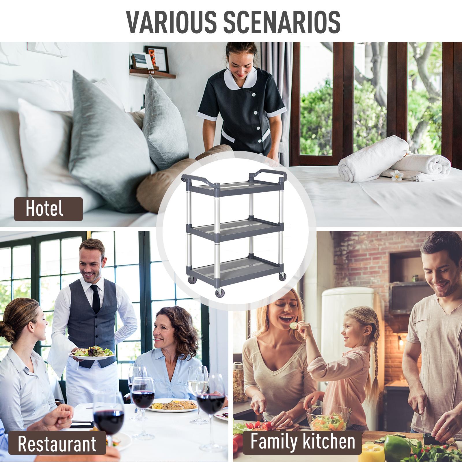 HOMCOM-3-Tier-Metal-Trolley-Serving-Cart-Free-Moving-Kitchen-Livingroom thumbnail 5