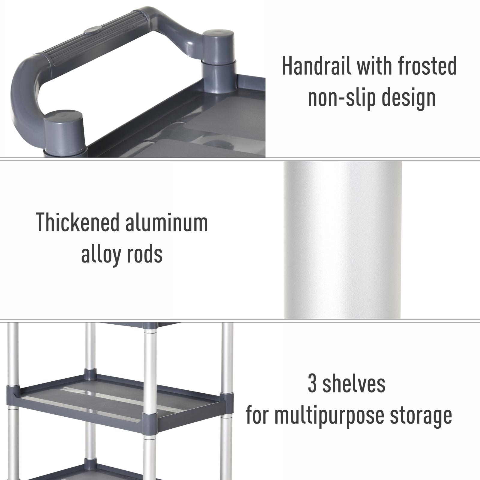 HOMCOM-3-Tier-Metal-Trolley-Serving-Cart-Free-Moving-Kitchen-Livingroom thumbnail 4
