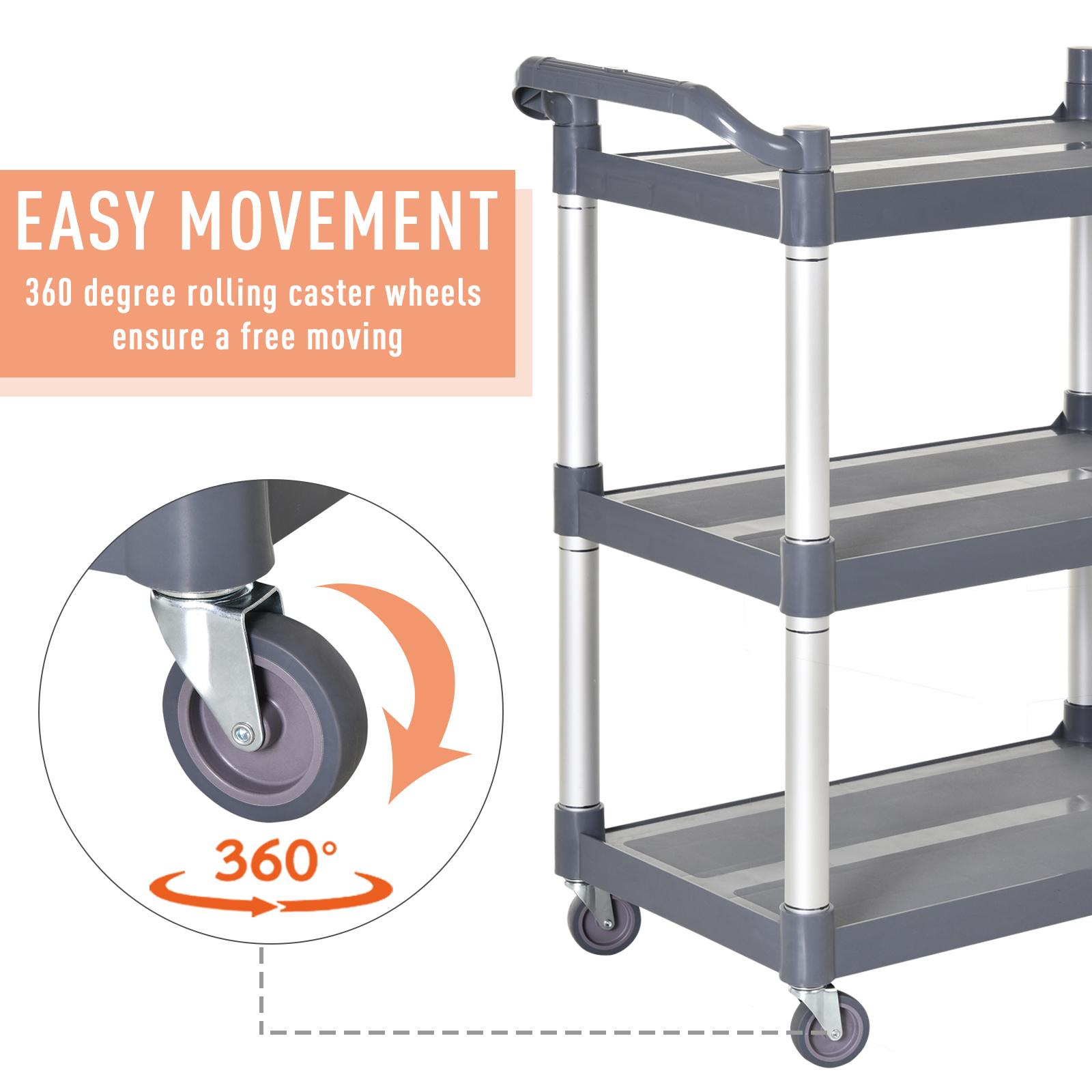 HOMCOM-3-Tier-Metal-Trolley-Serving-Cart-Free-Moving-Kitchen-Livingroom thumbnail 3
