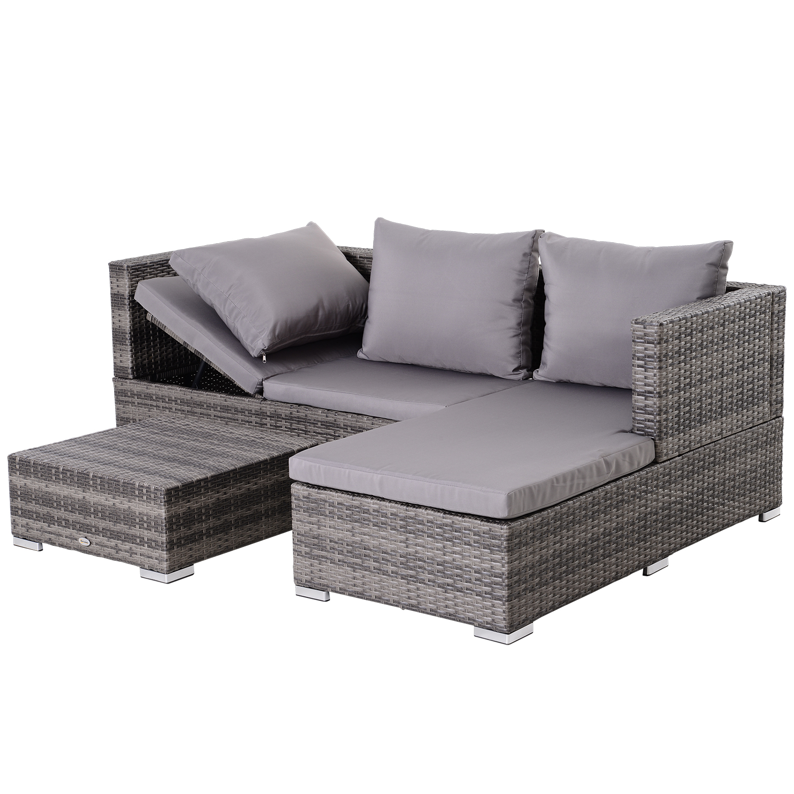 3-Piece-Adjustable-Seat-Rattan-Wicker-Sofa-Set-Sleeping-Couch-Bed-Lounge-Grey miniature 7