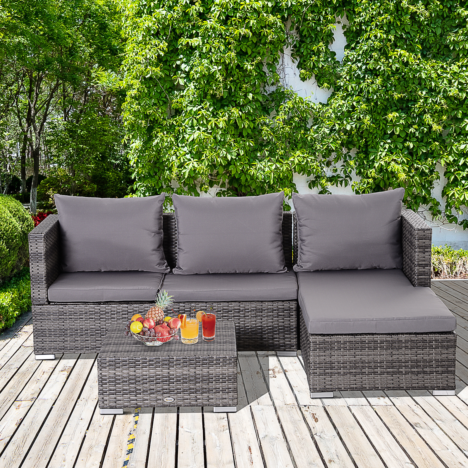 3-Piece-Adjustable-Seat-Rattan-Wicker-Sofa-Set-Sleeping-Couch-Bed-Lounge-Grey