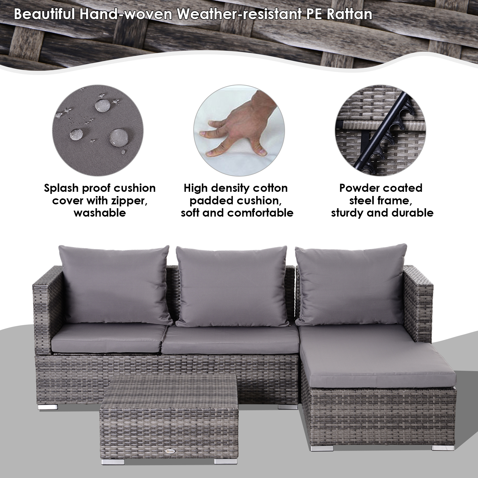 3-Piece-Adjustable-Seat-Rattan-Wicker-Sofa-Set-Sleeping-Couch-Bed-Lounge-Grey miniature 5