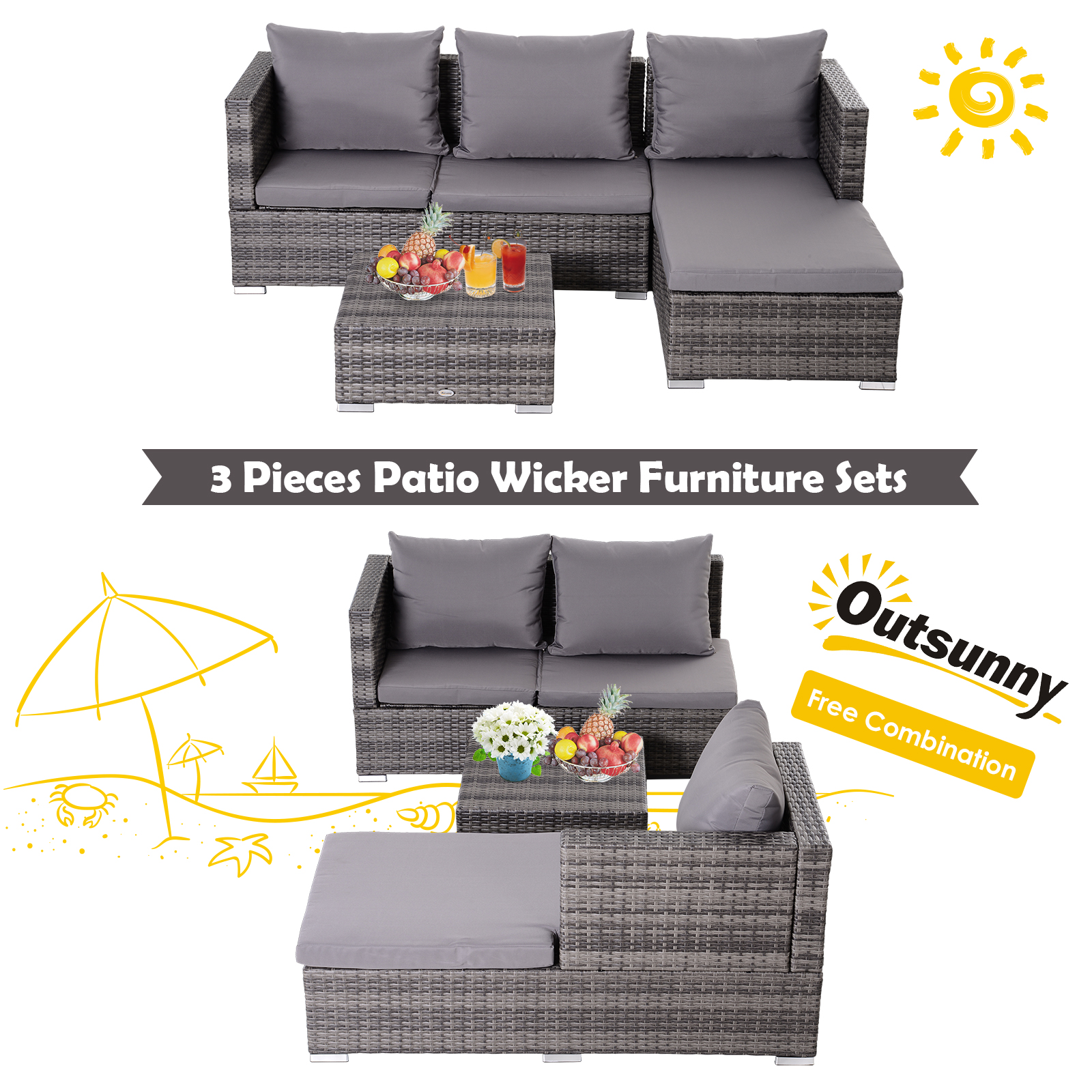 3-Piece-Adjustable-Seat-Rattan-Wicker-Sofa-Set-Sleeping-Couch-Bed-Lounge-Grey miniature 6