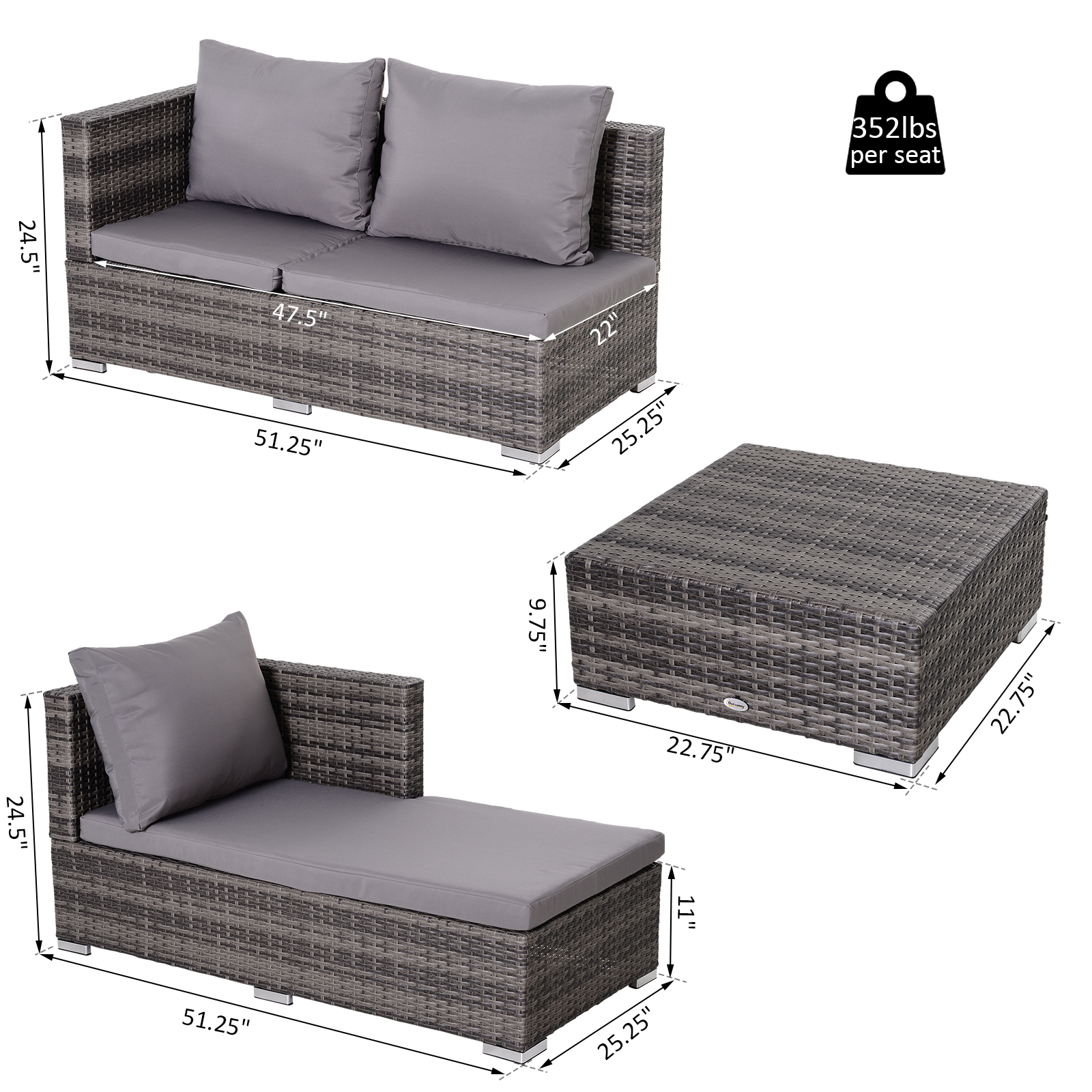 3-Piece-Adjustable-Seat-Rattan-Wicker-Sofa-Set-Sleeping-Couch-Bed-Lounge-Grey miniature 2