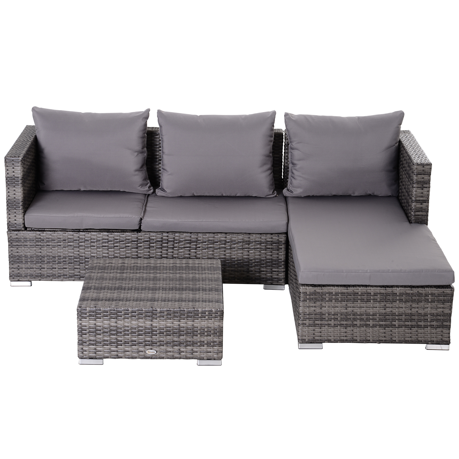 3-Piece-Adjustable-Seat-Rattan-Wicker-Sofa-Set-Sleeping-Couch-Bed-Lounge-Grey miniature 8