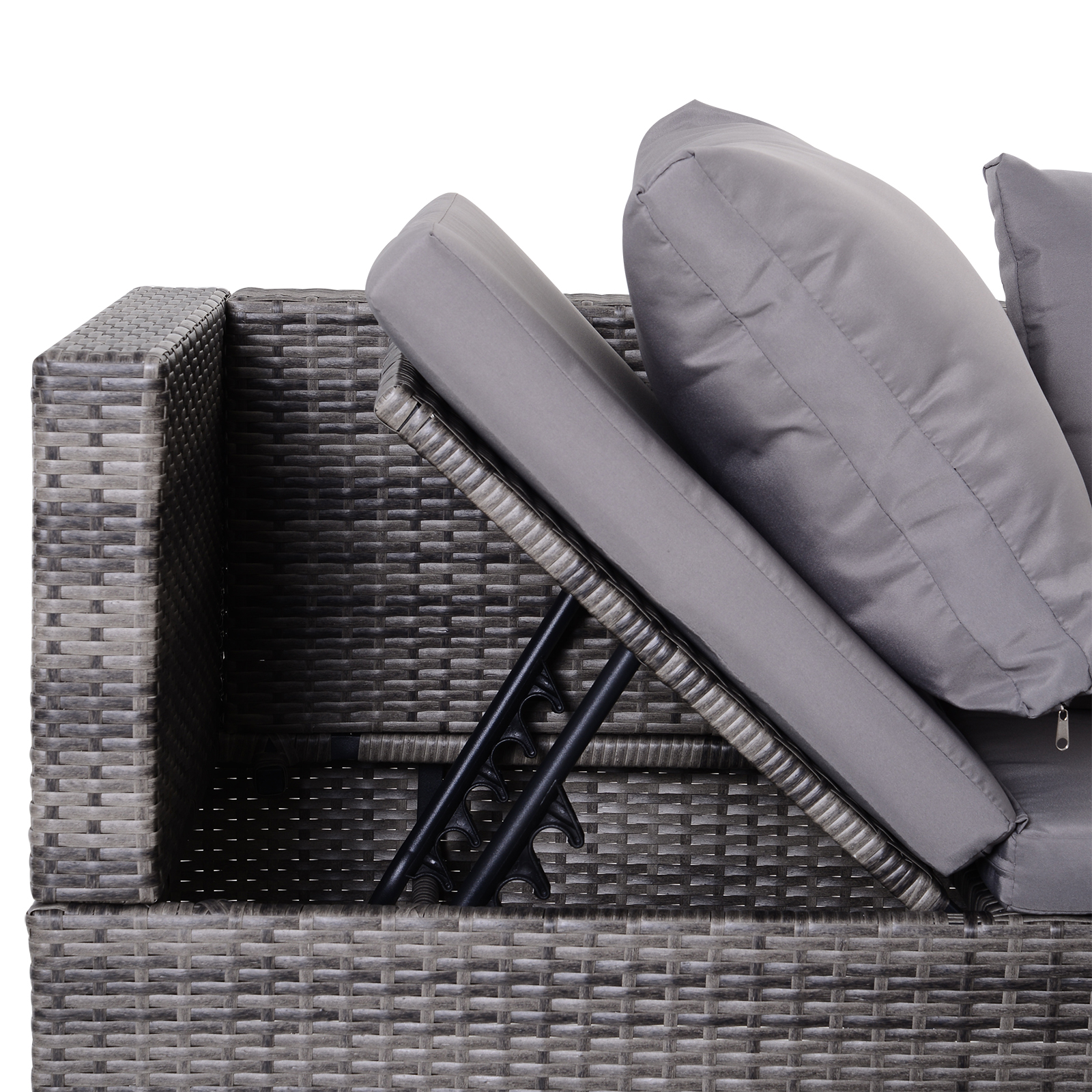 3-Piece-Adjustable-Seat-Rattan-Wicker-Sofa-Set-Sleeping-Couch-Bed-Lounge-Grey miniature 10