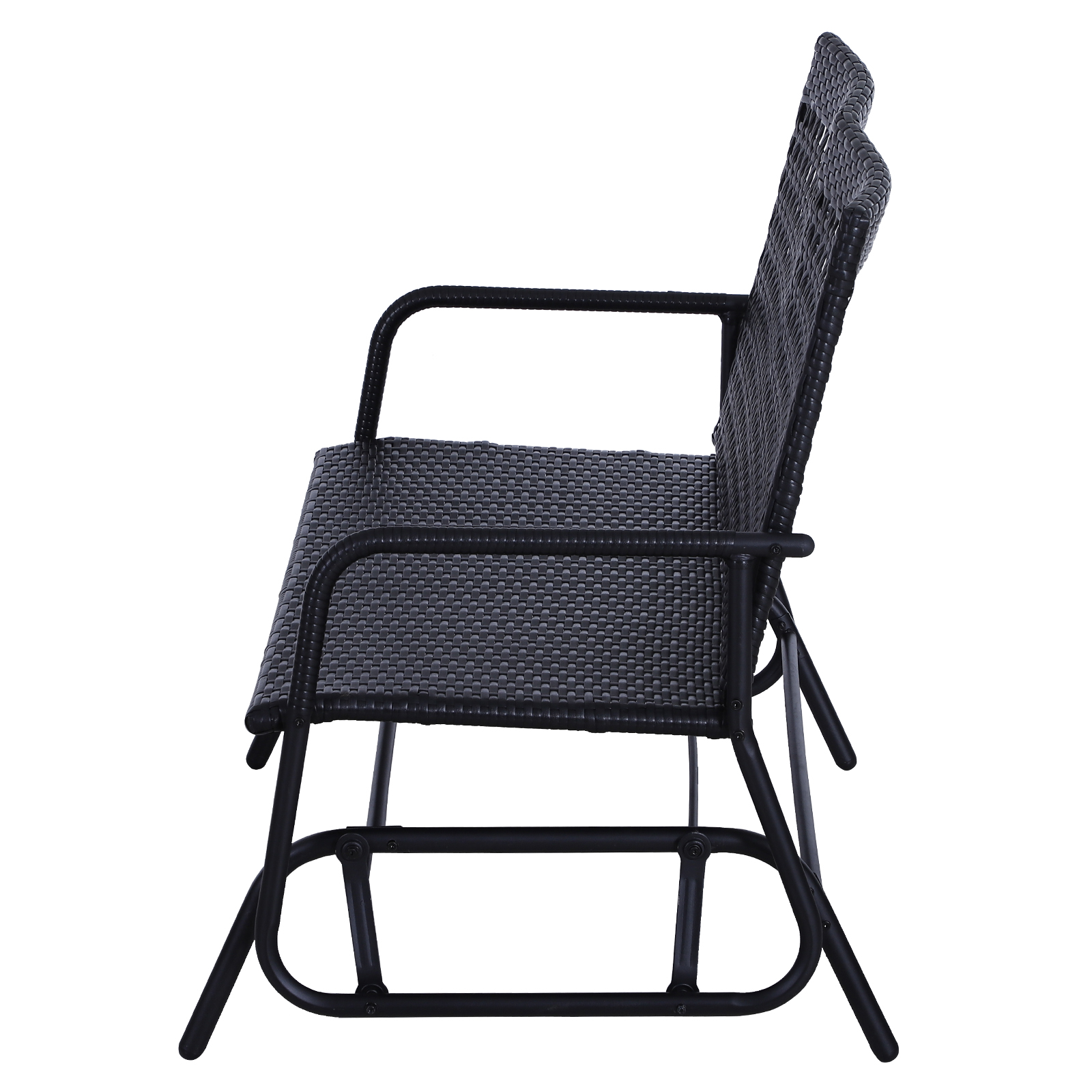 Outsunny-47x3x35inch-Garden-Bench-Wicker-Glider-Swing-Chair-Black thumbnail 3