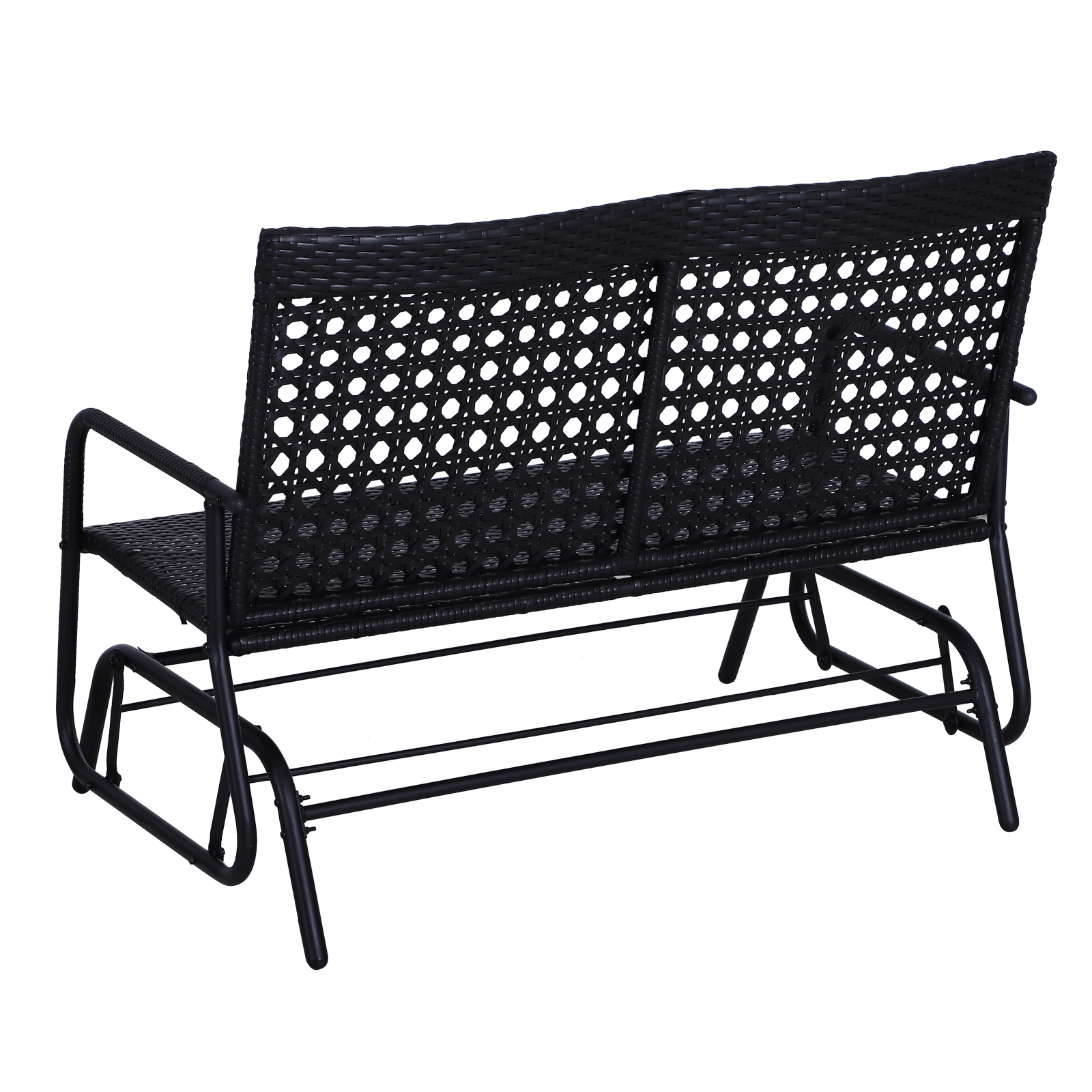 Outsunny-47x3x35inch-Garden-Bench-Wicker-Glider-Swing-Chair-Black thumbnail 4