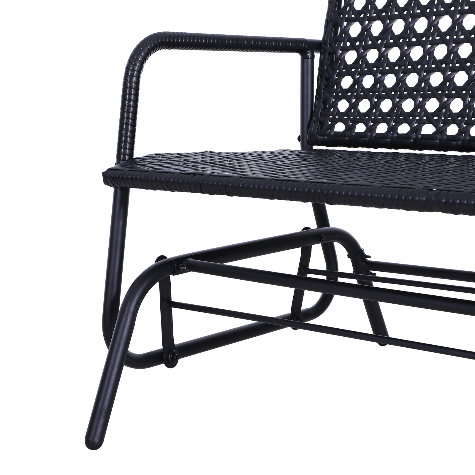 Outsunny-47x3x35inch-Garden-Bench-Wicker-Glider-Swing-Chair-Black thumbnail 6