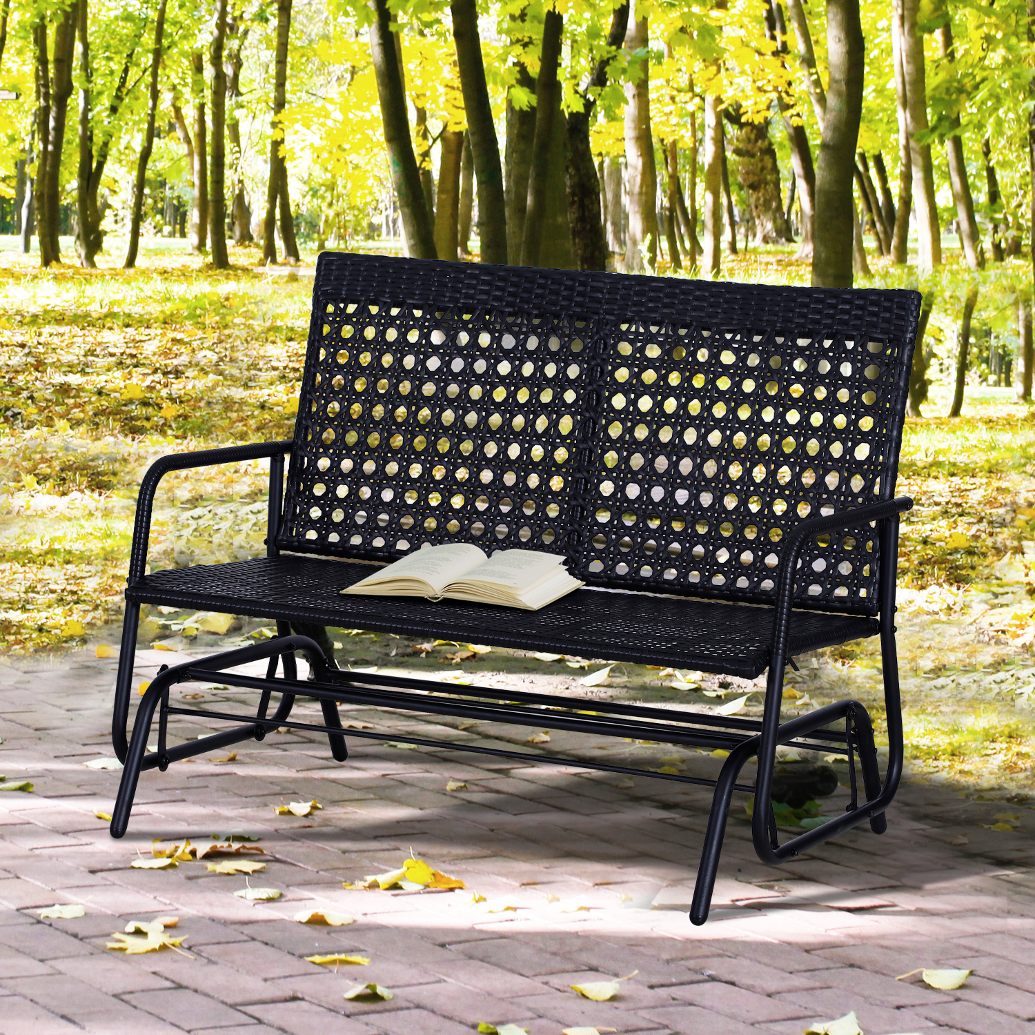 Outsunny-47x3x35inch-Garden-Bench-Wicker-Glider-Swing-Chair-Black thumbnail 1