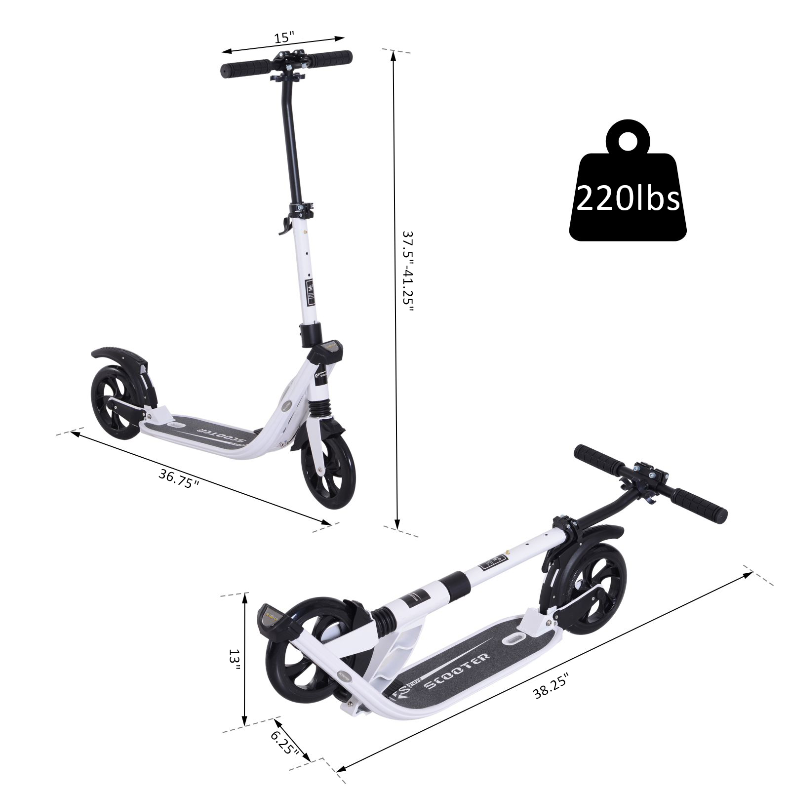 Teens-Adult-Folding-Electric-Scooter-Teenager-Rider-With-Brakes-and-Kickstand miniature 22