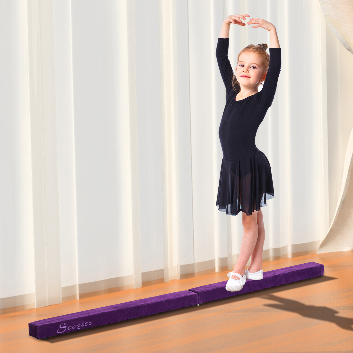 8FT-Folding-Floor-Balance-Beam-WOOD-CORE-Gymnastic-Training-Low-Height-Beam