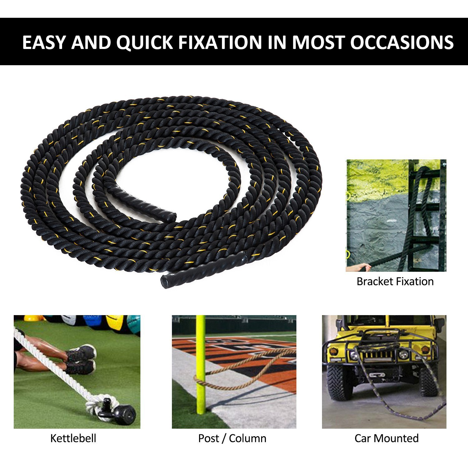 HOMCOM-30ft-Poly-Dacron-Battle-Rope-Fitness-Undulation-Rope-Exercise-Cross