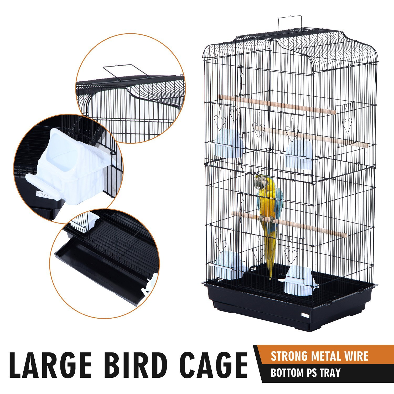 36-034-Bird-Cage-Parrot-Flight-Cage-2-Doors-4-Feeder thumbnail 4