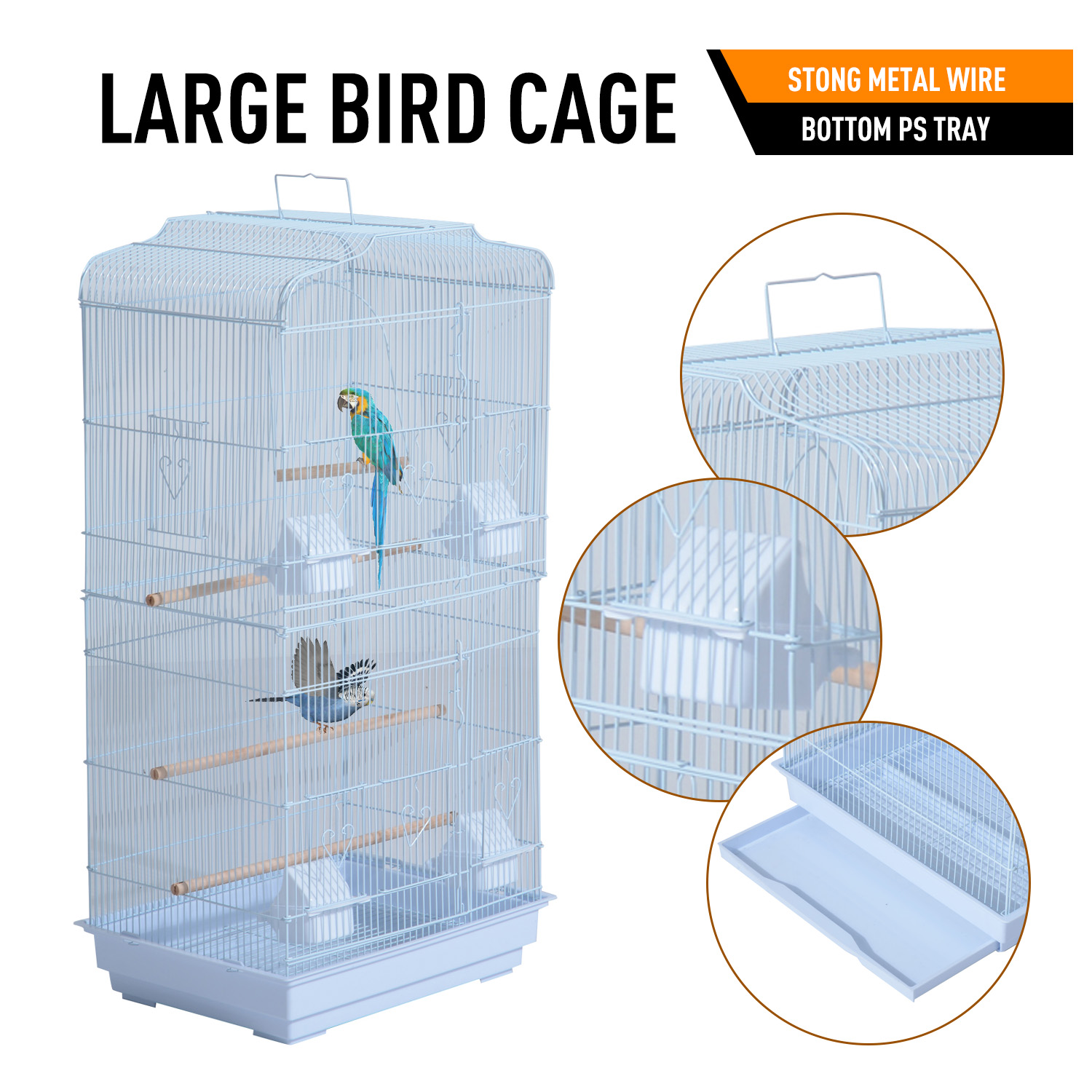 36-034-Bird-Cage-Parrot-Flight-Cage-2-Doors-4-Feeder thumbnail 11
