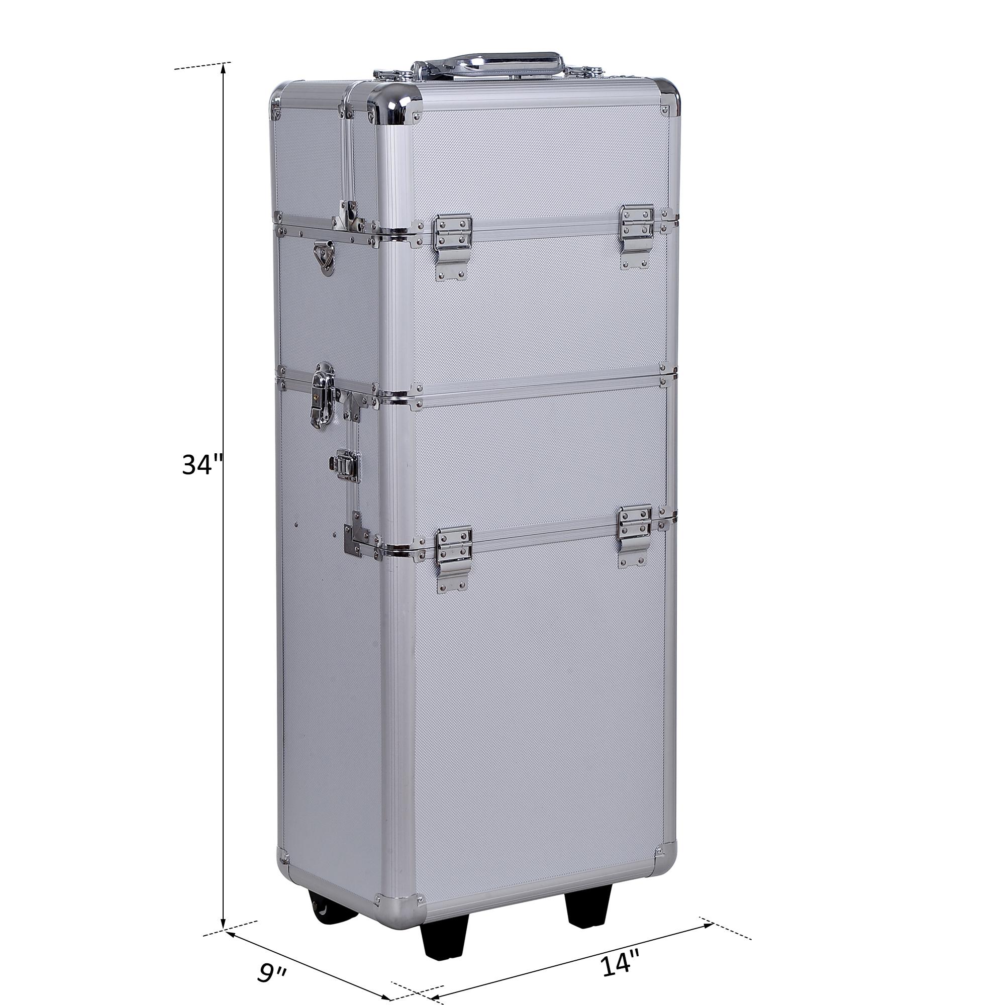 Aluminum-Rolling-Makeup-Train-Case-Trolley-Organizer-Storage-Box-Lockable thumbnail 13