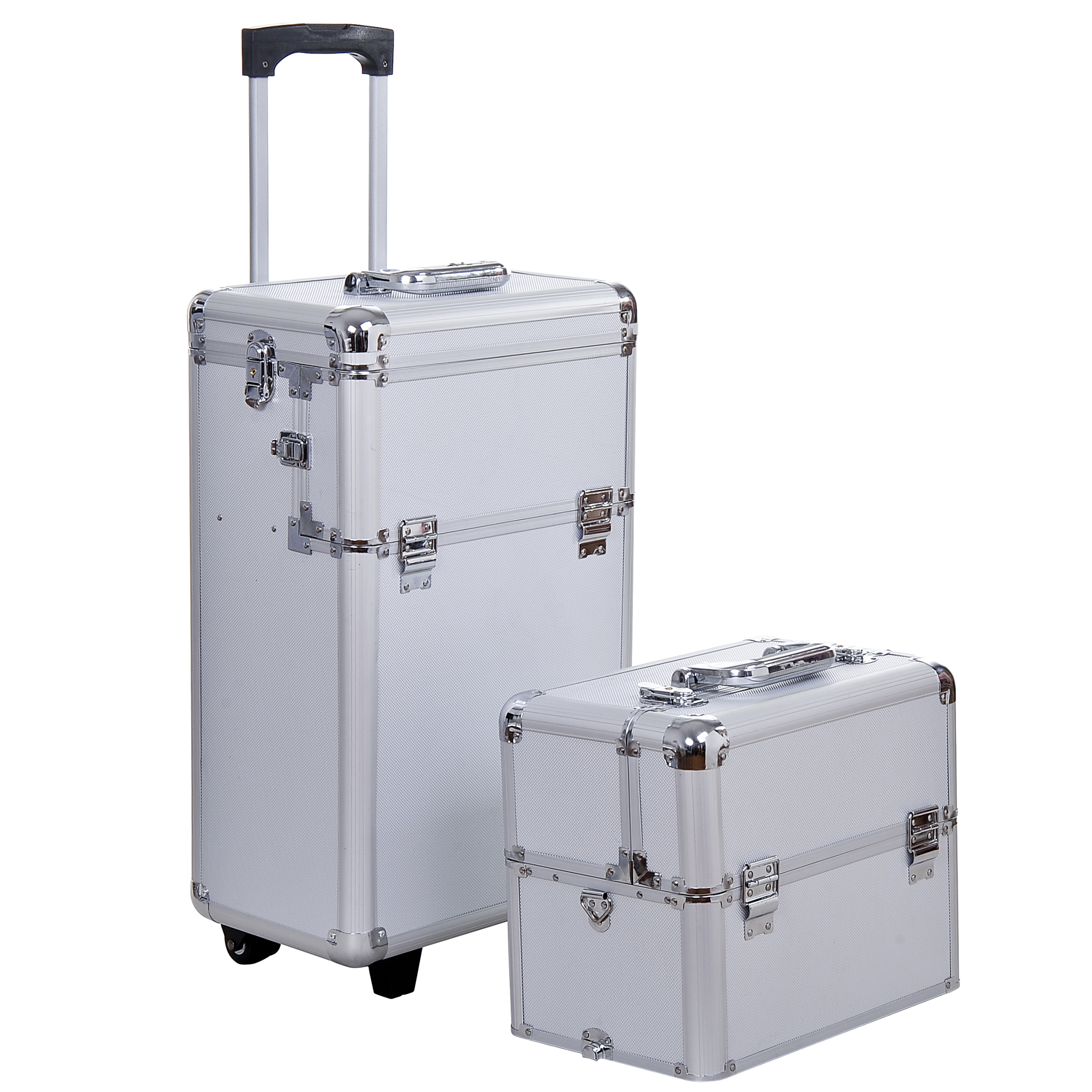Aluminum-Rolling-Makeup-Train-Case-Trolley-Organizer-Storage-Box-Lockable thumbnail 14