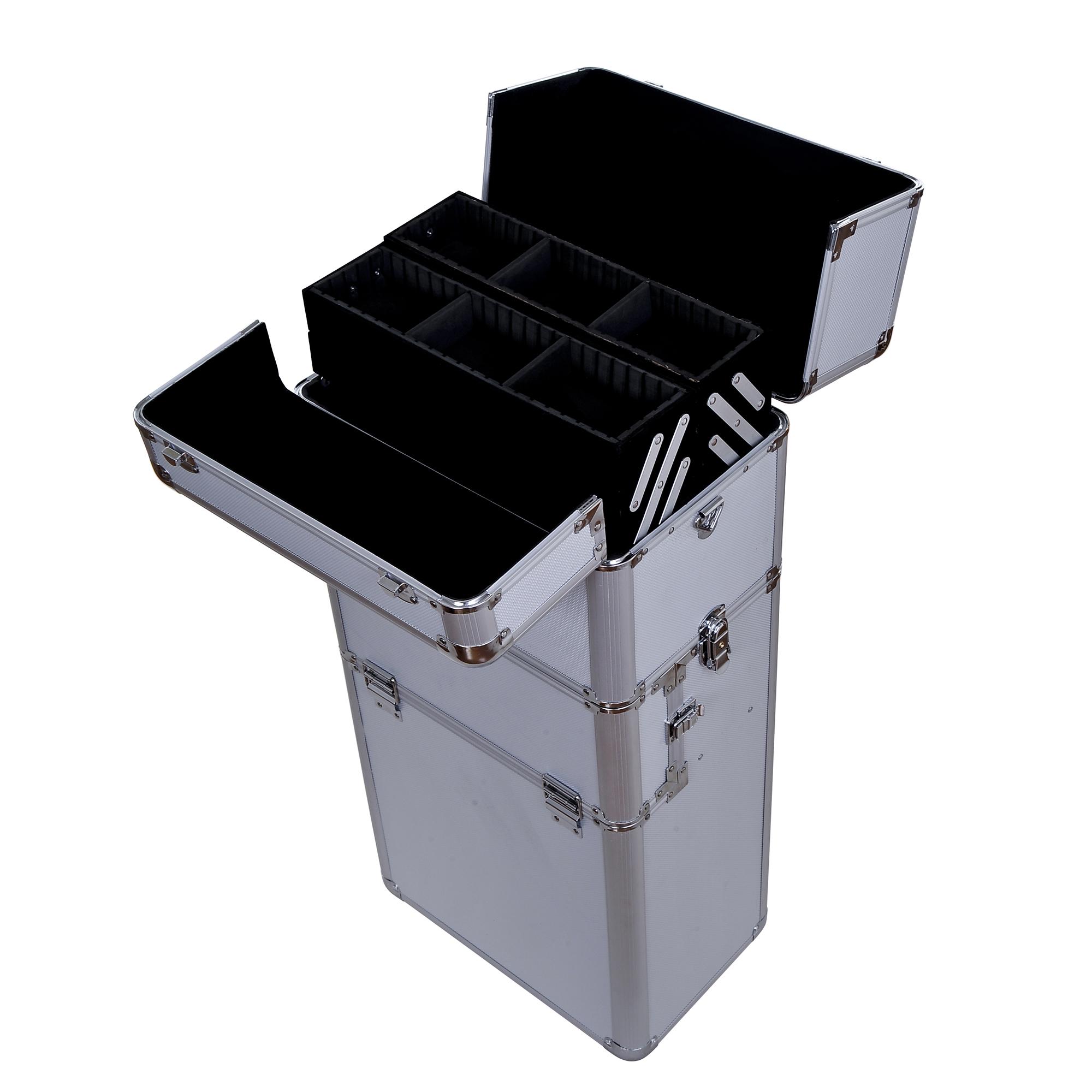 Aluminum-Rolling-Makeup-Train-Case-Trolley-Organizer-Storage-Box-Lockable thumbnail 16