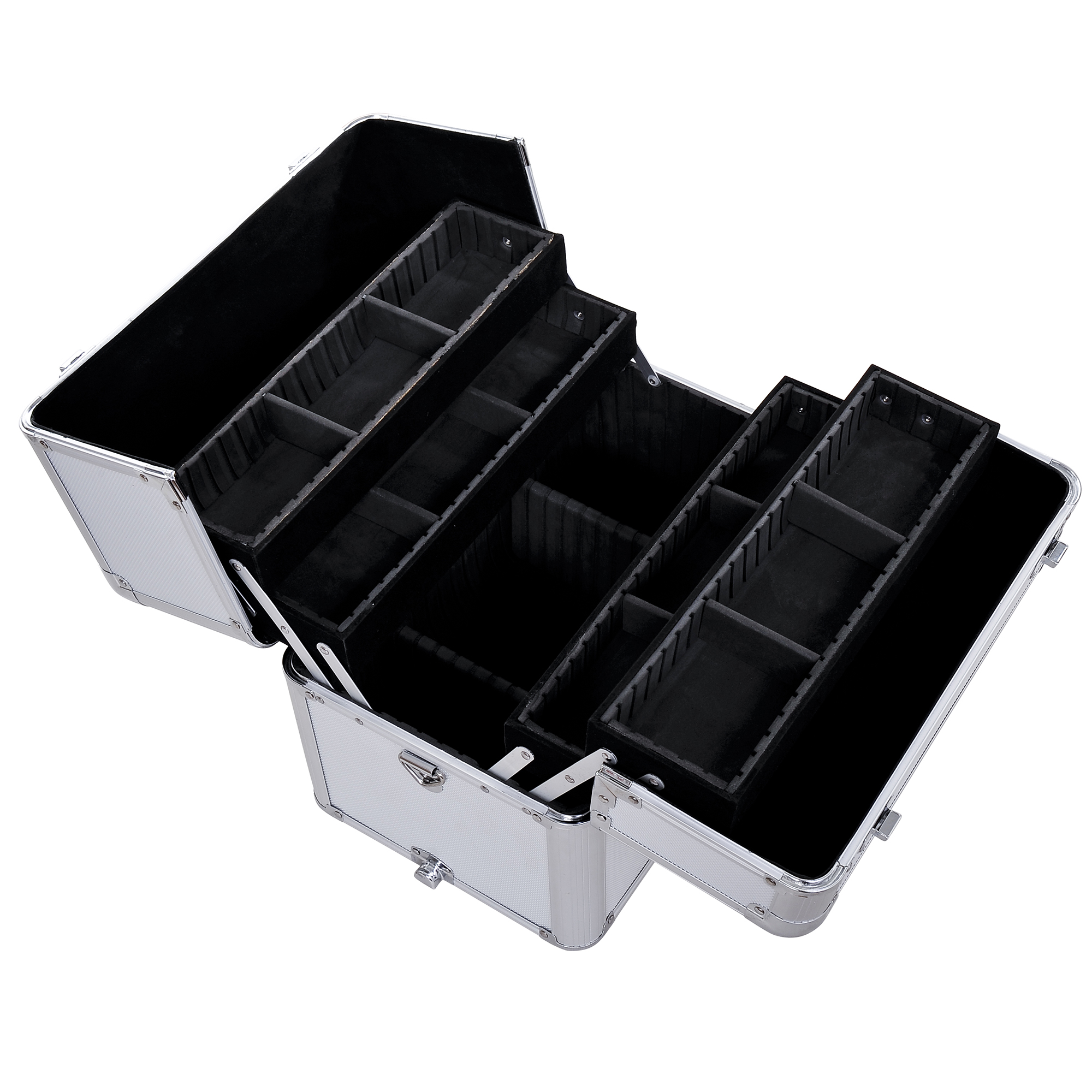 Aluminum-Rolling-Makeup-Train-Case-Trolley-Organizer-Storage-Box-Lockable thumbnail 17