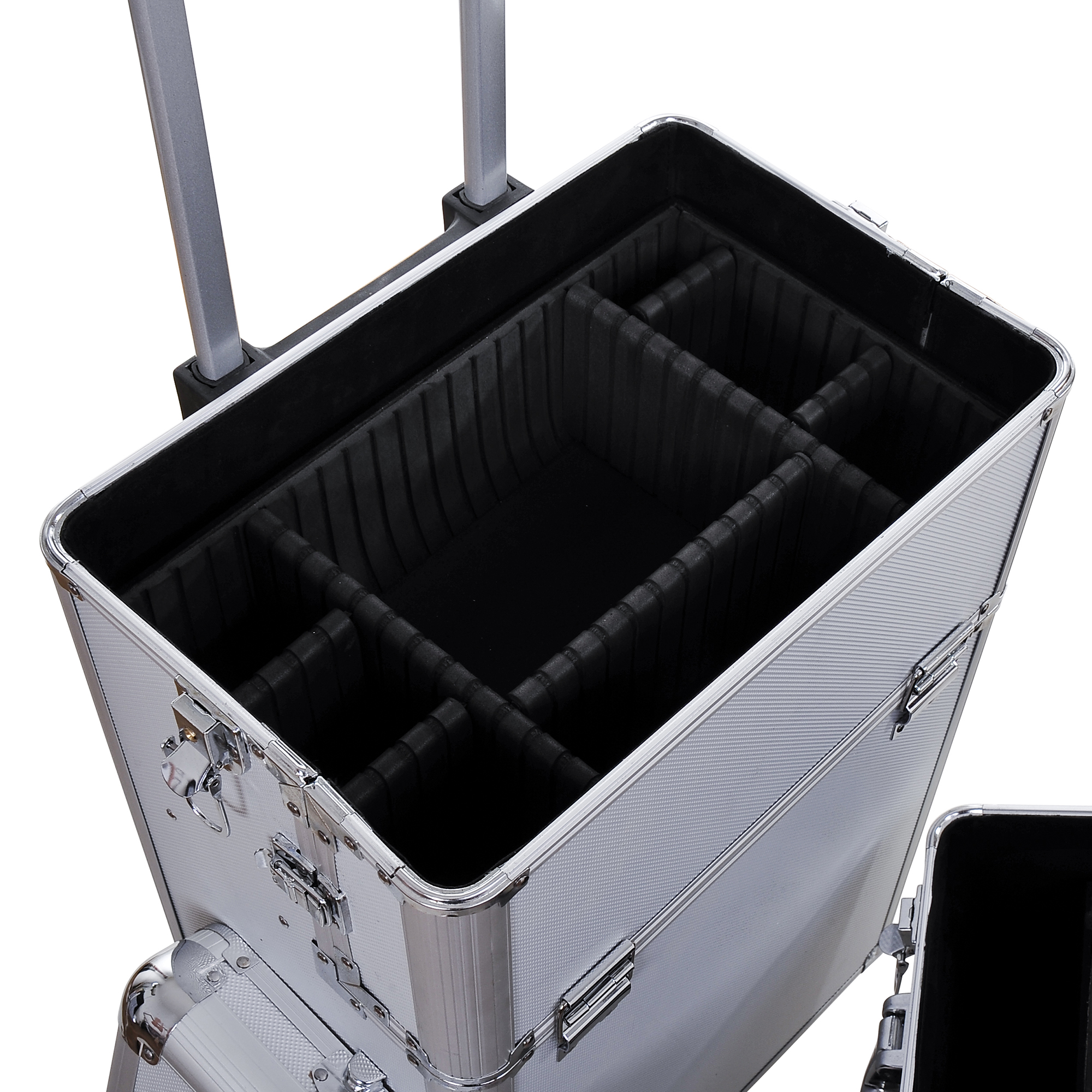 Aluminum-Rolling-Makeup-Train-Case-Trolley-Organizer-Storage-Box-Lockable thumbnail 18