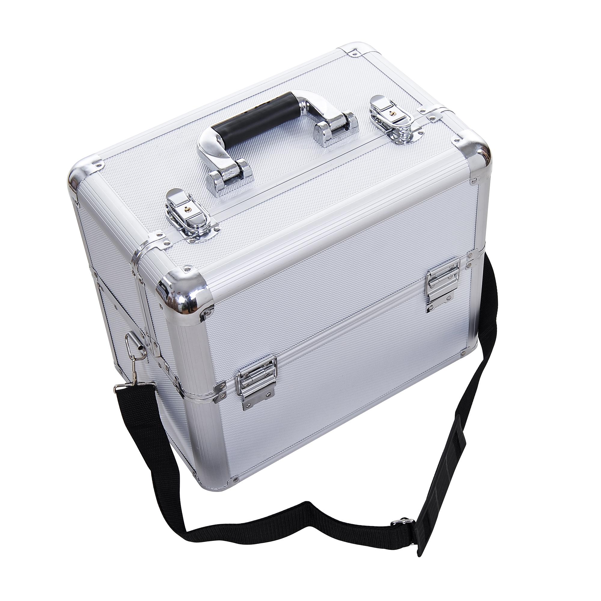 Aluminum-Rolling-Makeup-Train-Case-Trolley-Organizer-Storage-Box-Lockable thumbnail 19
