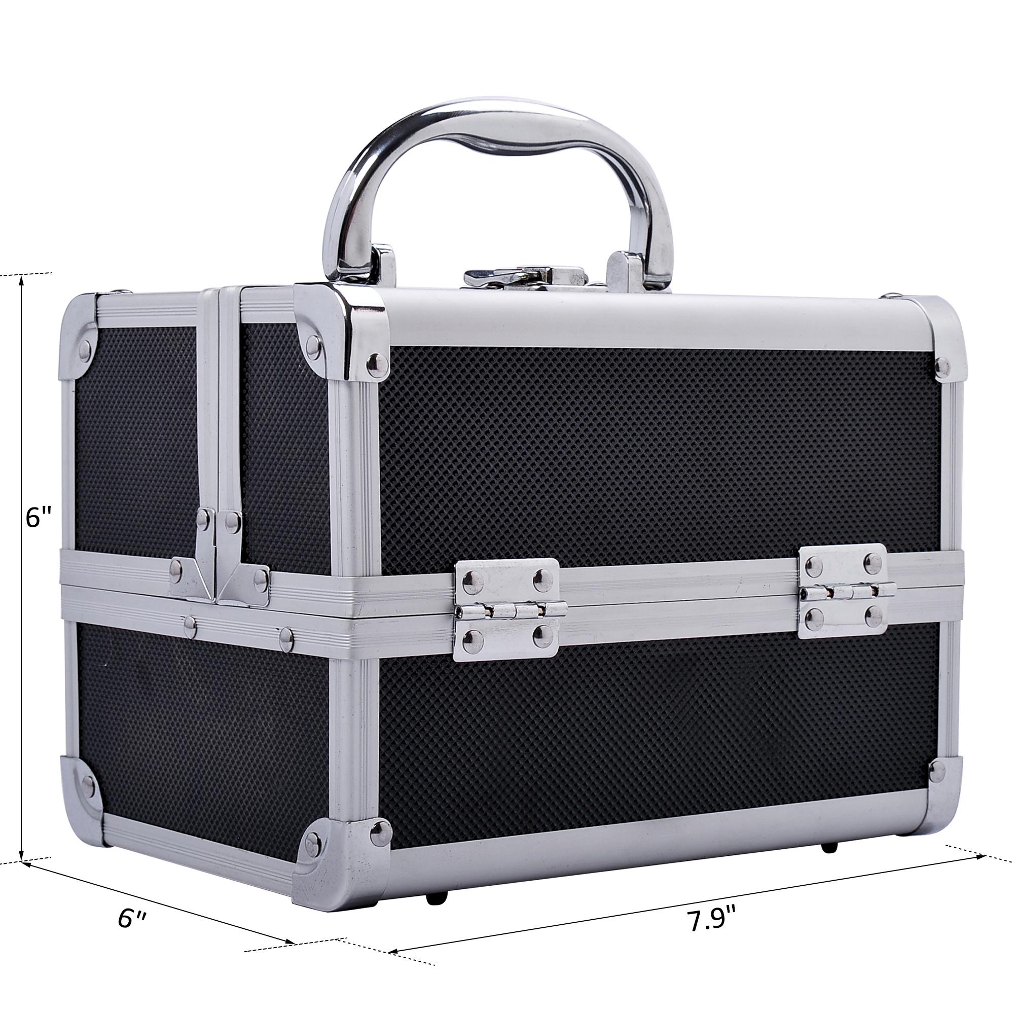 Aluminum-Rolling-Makeup-Train-Case-Trolley-Organizer-Storage-Box-Lockable thumbnail 23