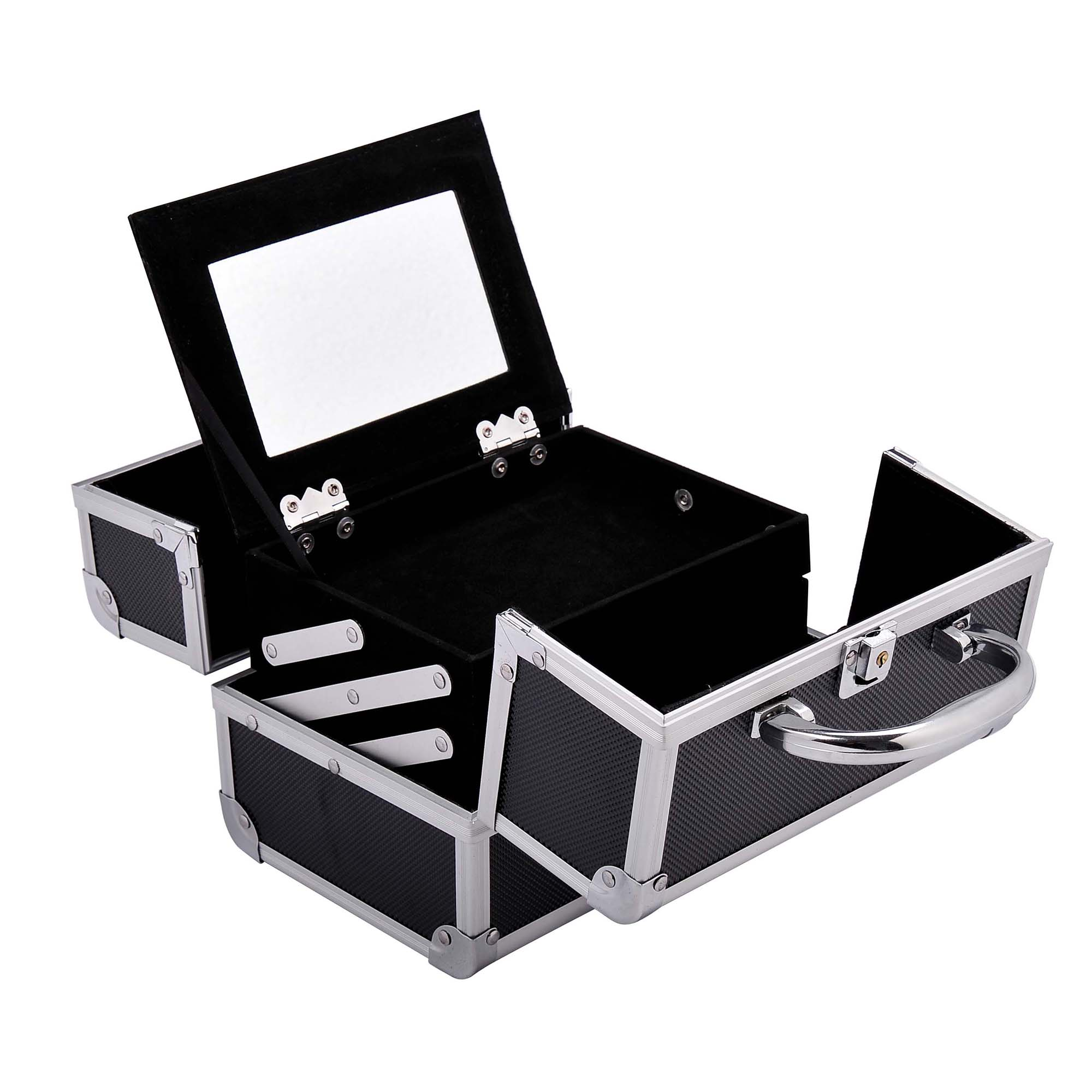 Aluminum-Rolling-Makeup-Train-Case-Trolley-Organizer-Storage-Box-Lockable thumbnail 25