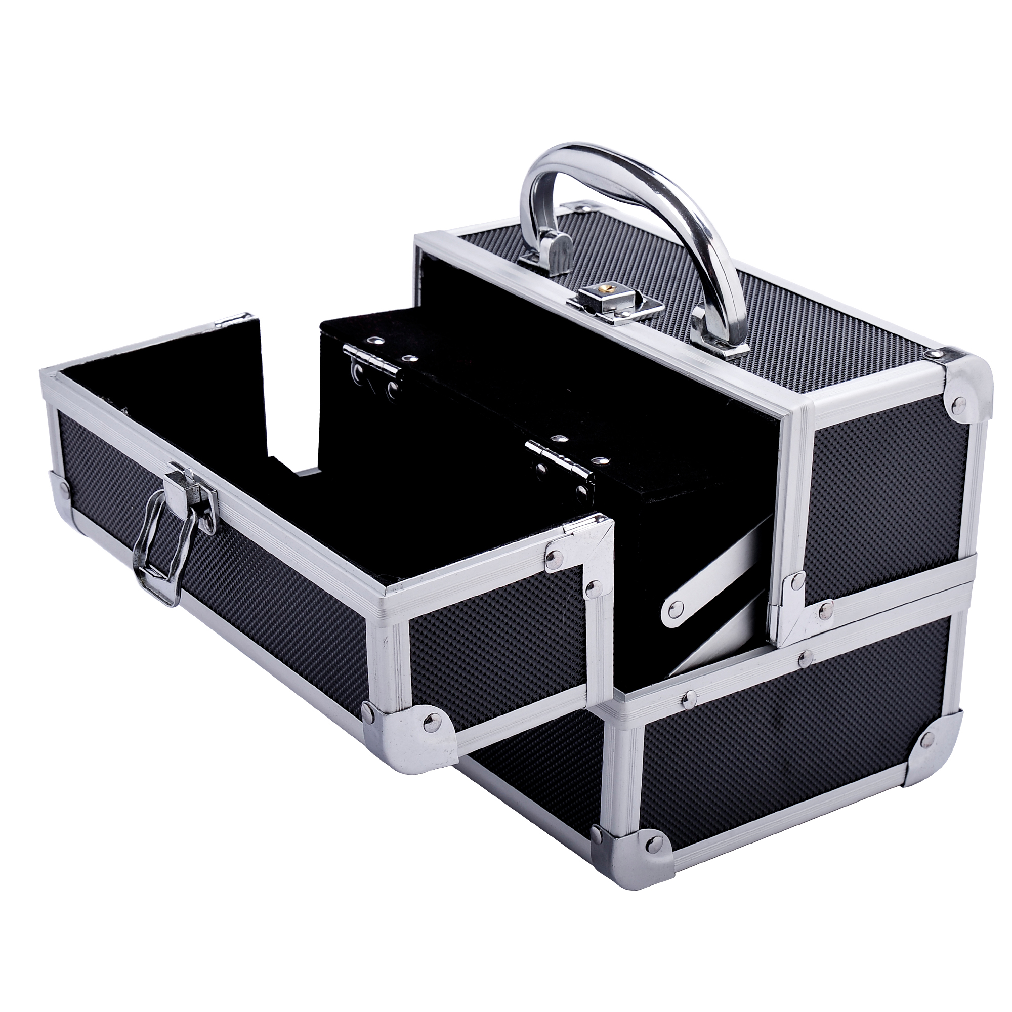 Aluminum-Rolling-Makeup-Train-Case-Trolley-Organizer-Storage-Box-Lockable thumbnail 26