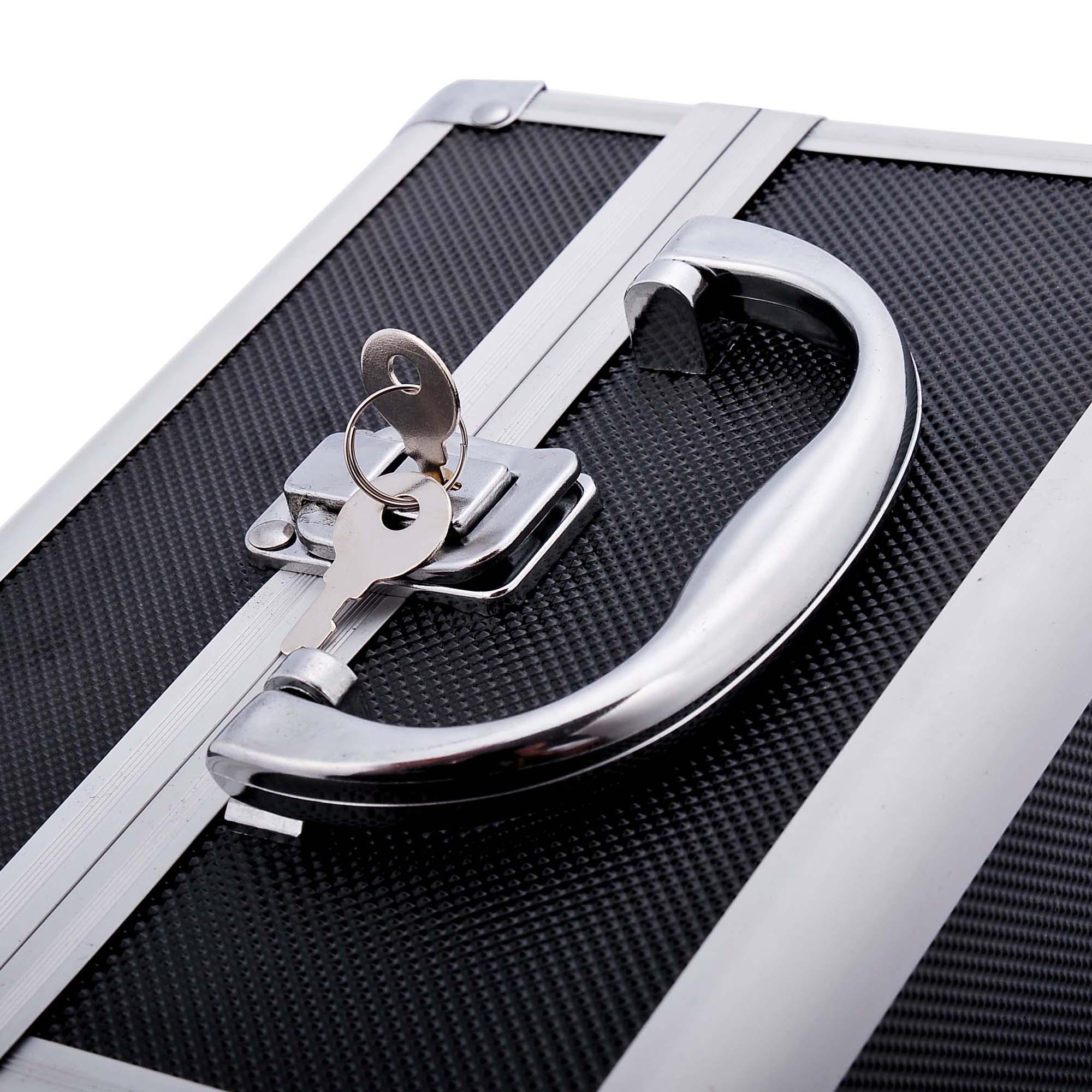Aluminum-Rolling-Makeup-Train-Case-Trolley-Organizer-Storage-Box-Lockable thumbnail 28