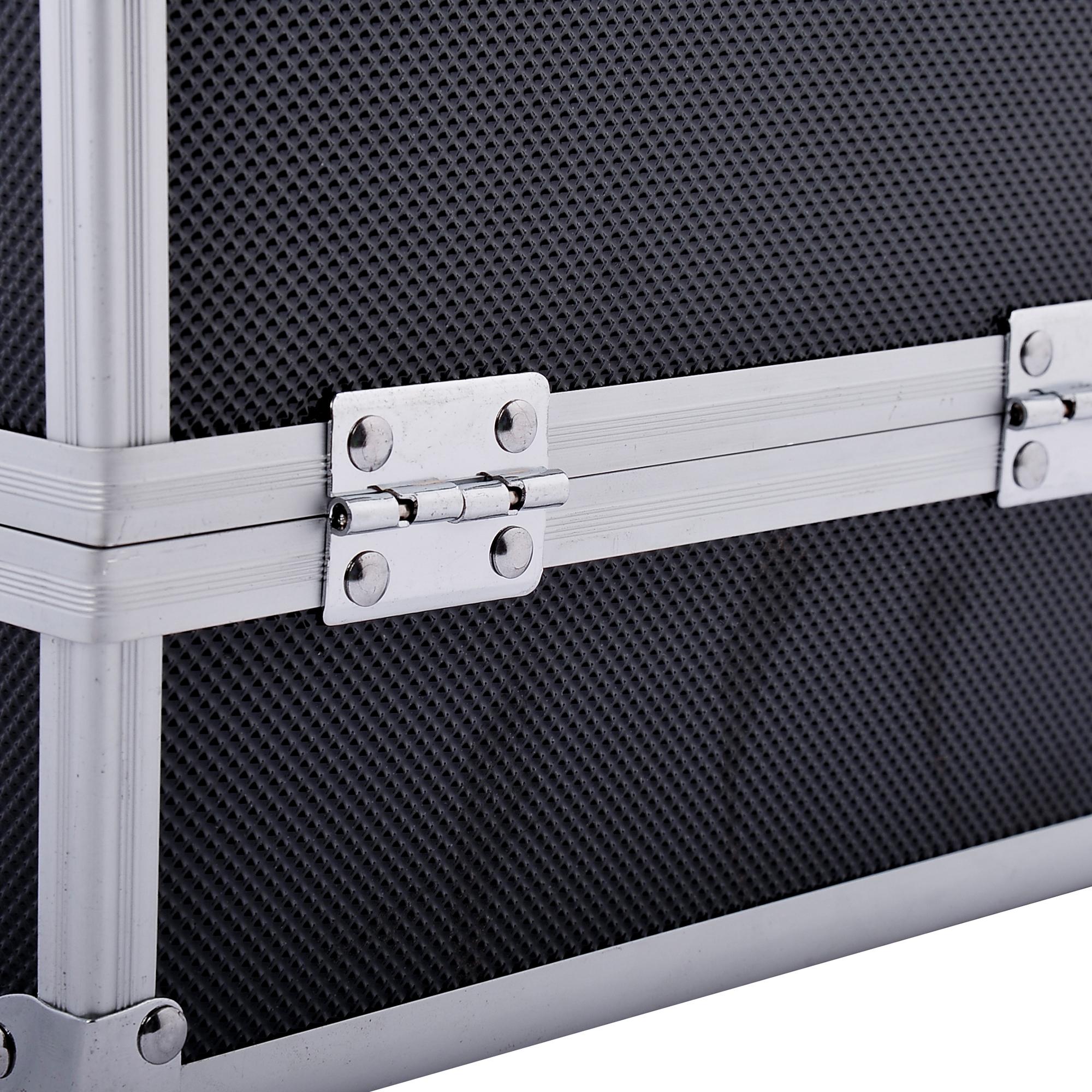 Aluminum-Rolling-Makeup-Train-Case-Trolley-Organizer-Storage-Box-Lockable thumbnail 29