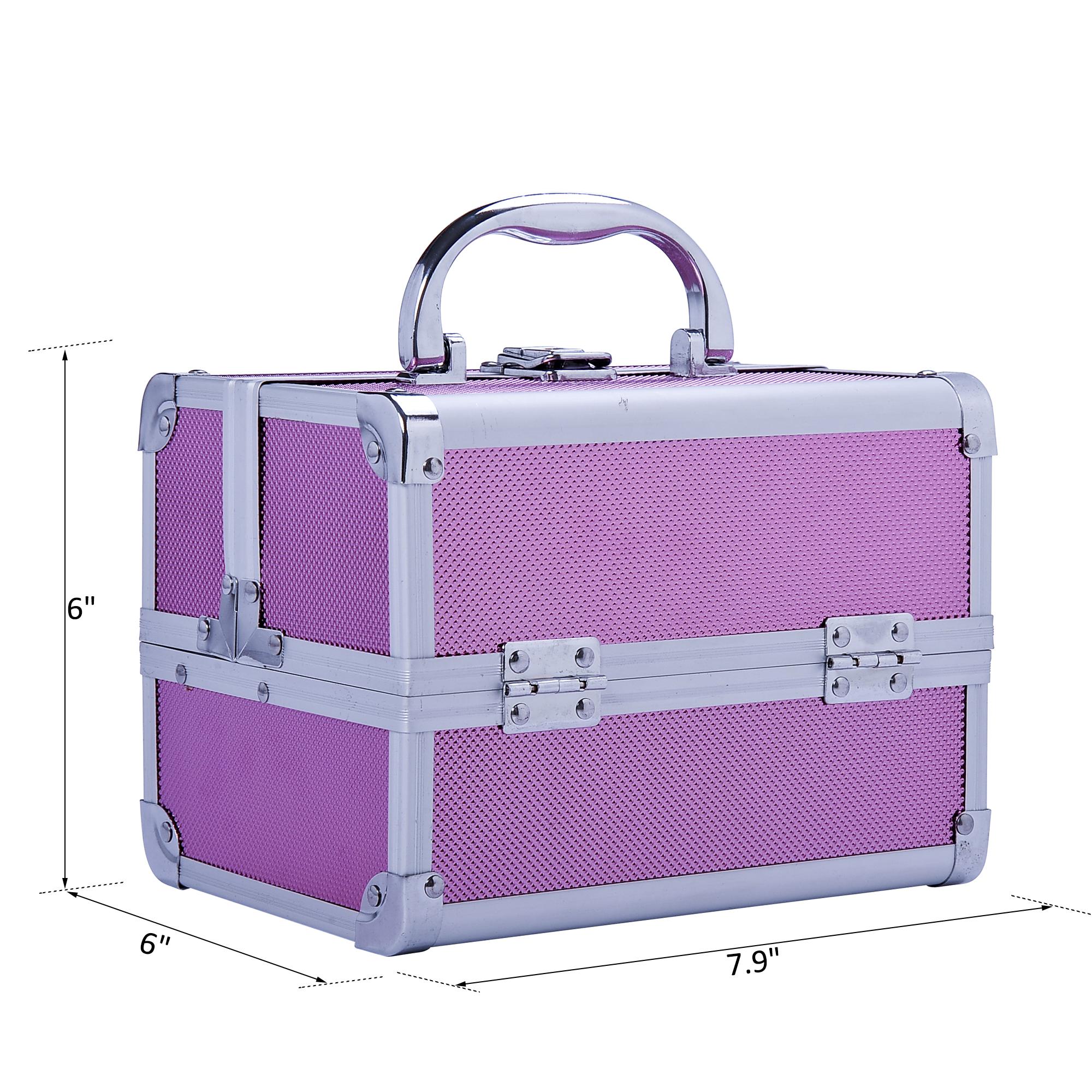 Aluminum-Rolling-Makeup-Train-Case-Trolley-Organizer-Storage-Box-Lockable thumbnail 31
