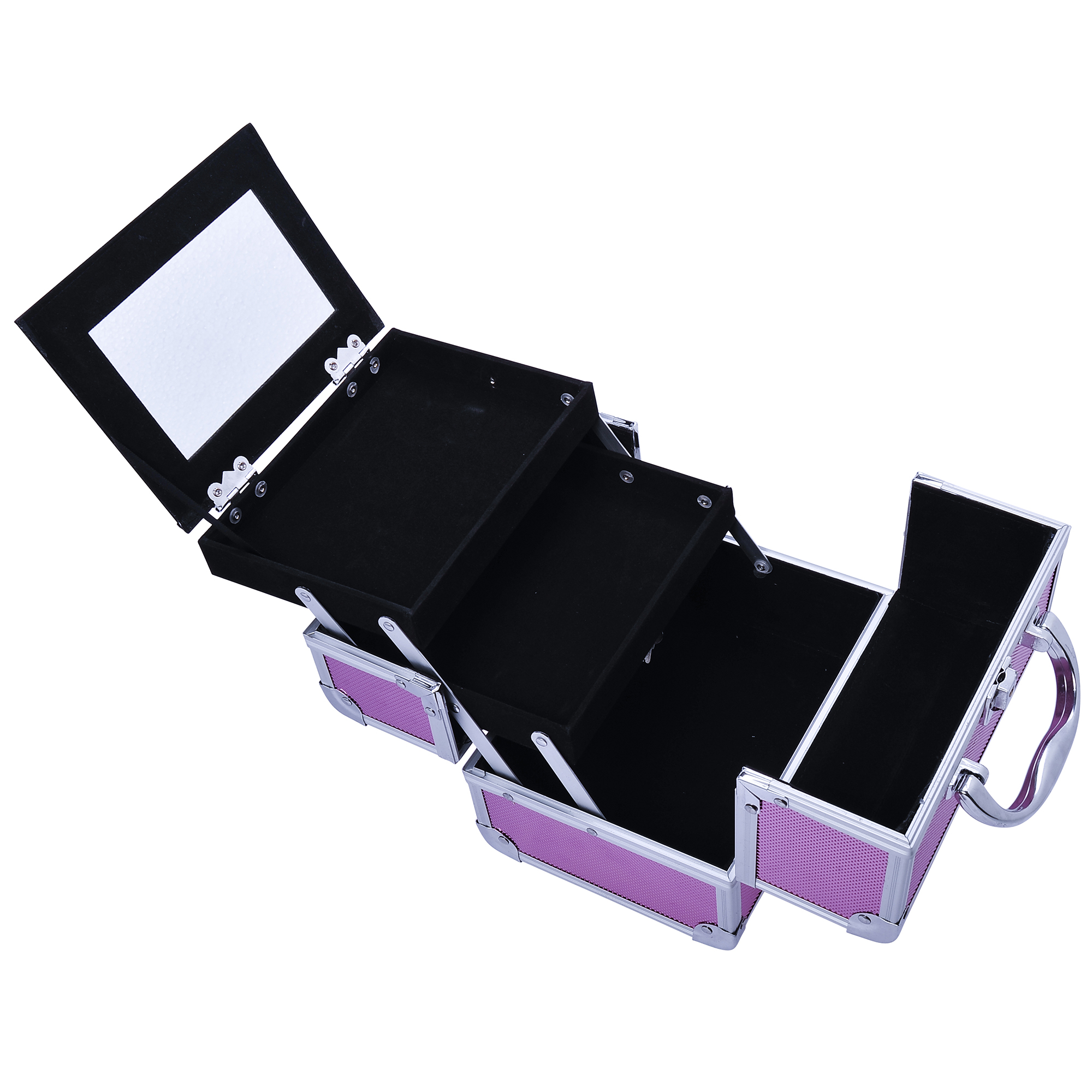 Aluminum-Rolling-Makeup-Train-Case-Trolley-Organizer-Storage-Box-Lockable thumbnail 33
