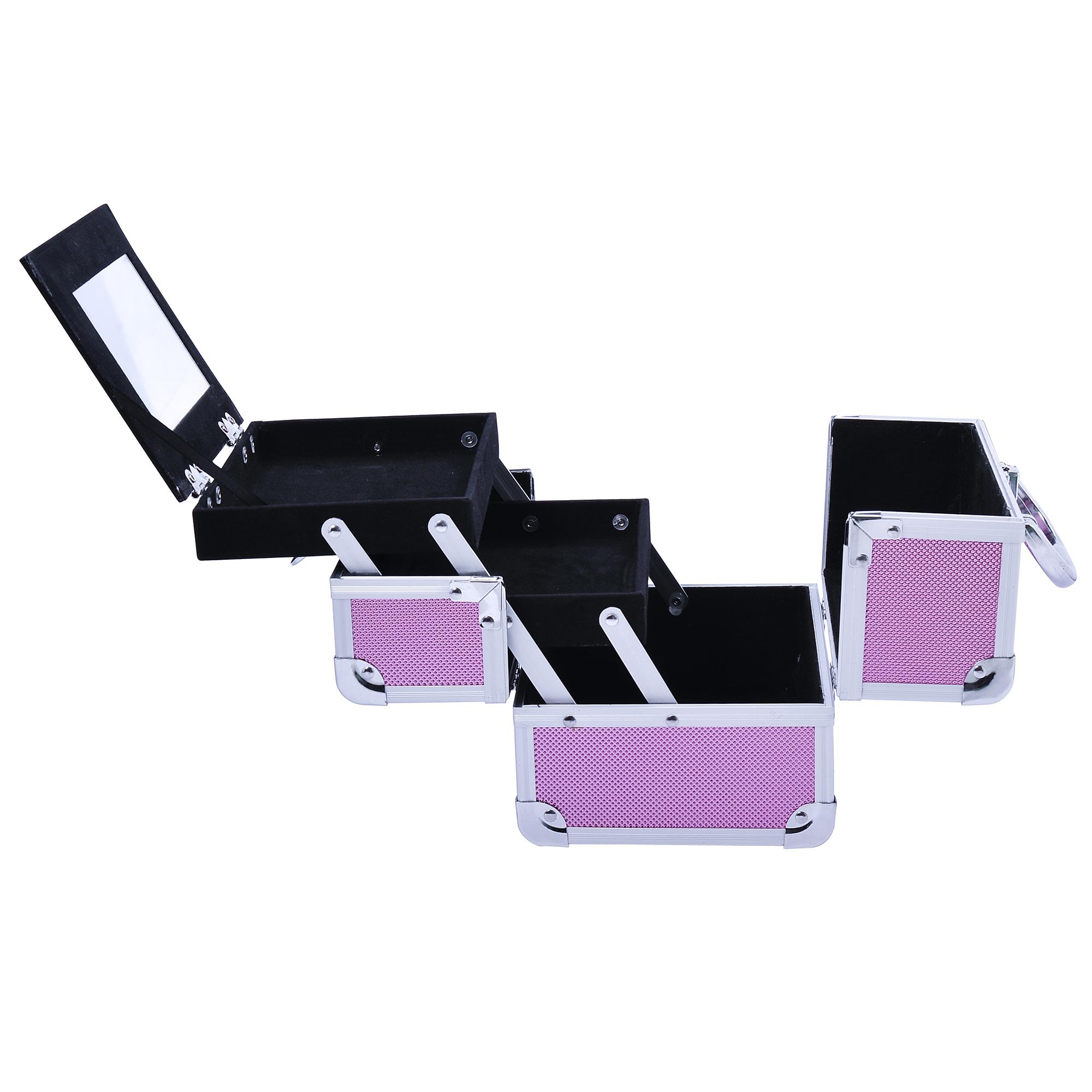Aluminum-Rolling-Makeup-Train-Case-Trolley-Organizer-Storage-Box-Lockable thumbnail 34