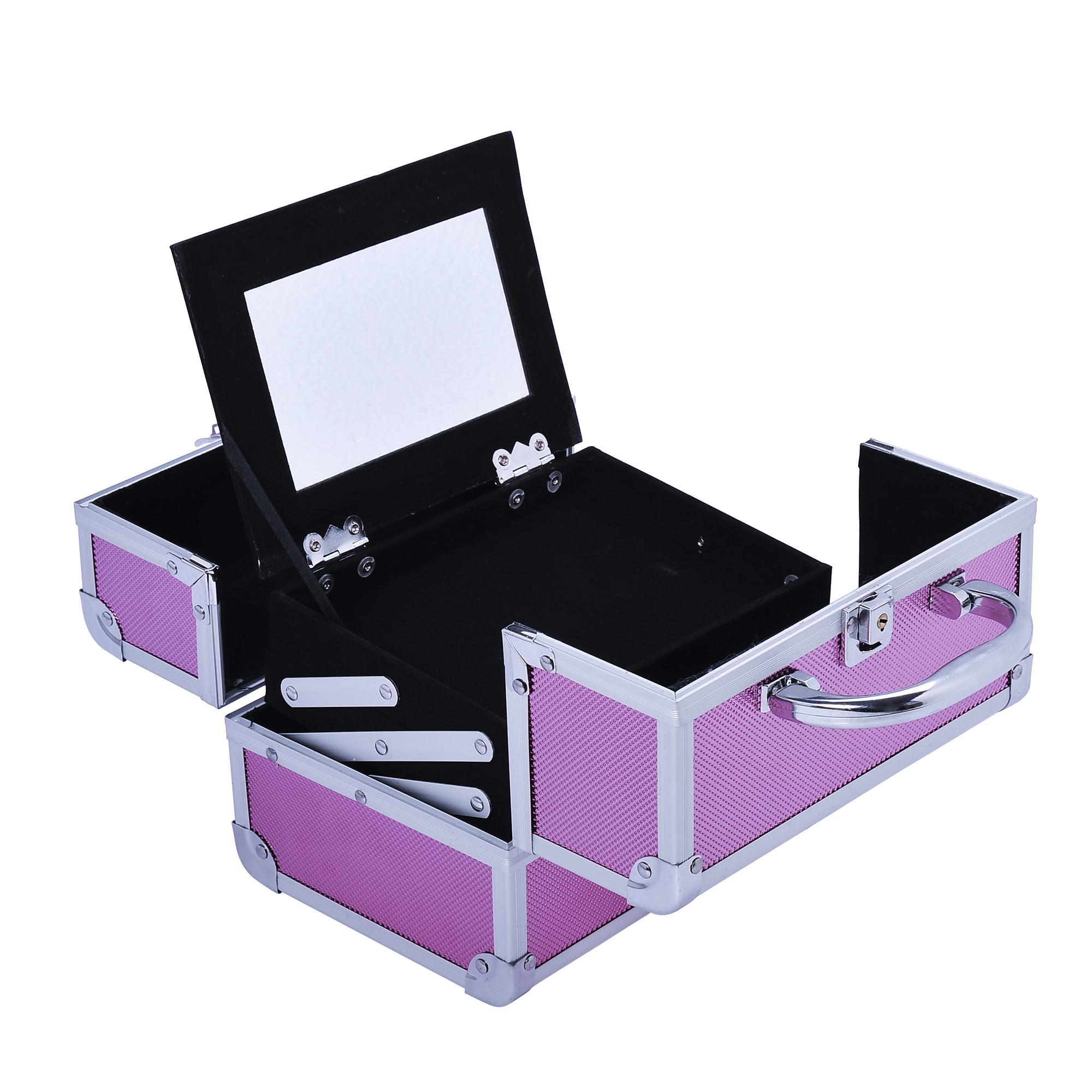 Aluminum-Rolling-Makeup-Train-Case-Trolley-Organizer-Storage-Box-Lockable thumbnail 35