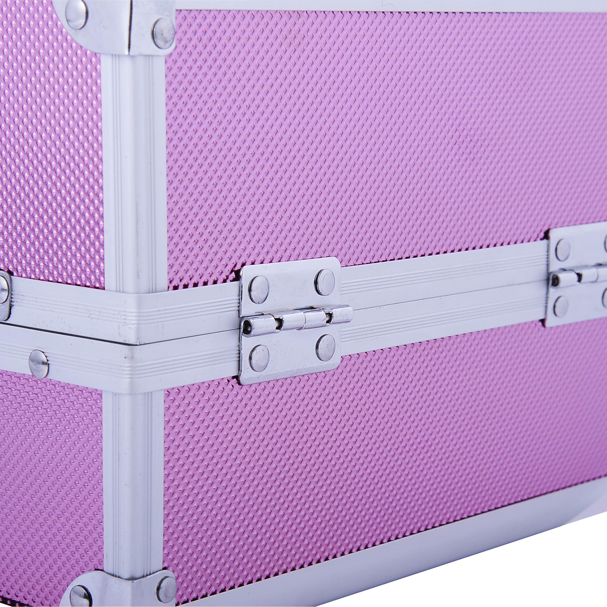 Aluminum-Rolling-Makeup-Train-Case-Trolley-Organizer-Storage-Box-Lockable thumbnail 38