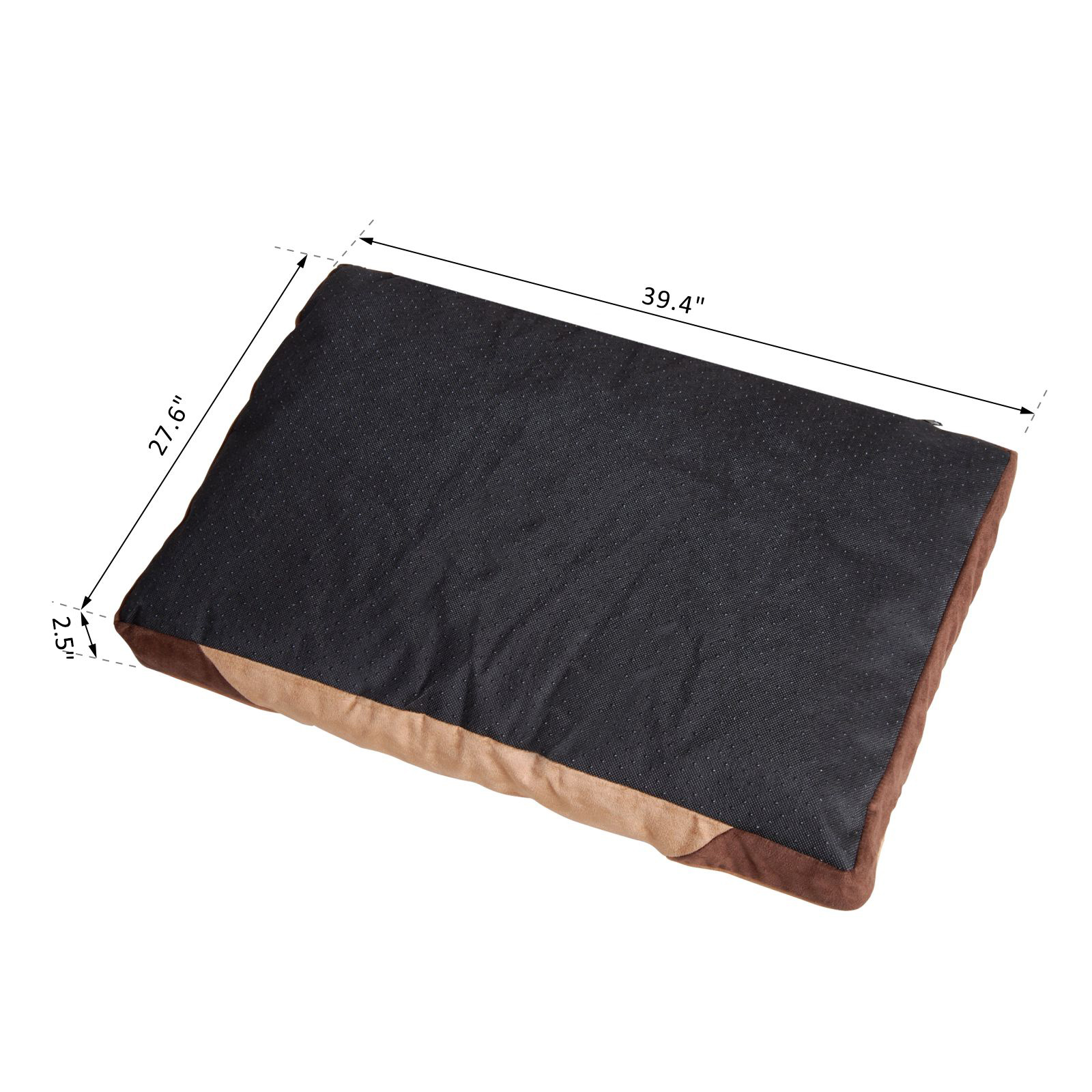 Rectangle Pet Bed Dog Cat Lounge Sleeper Washable Cover Portable Brown
