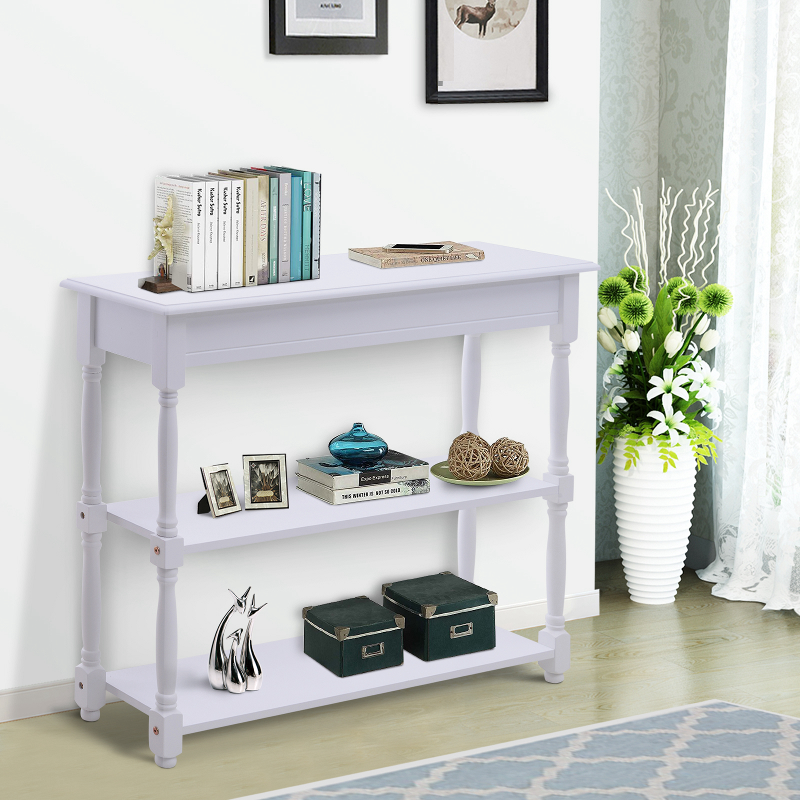 Details About Wood Console Table White Modern Accent Shelf Stand Sofa  Entryway Hall Furniture