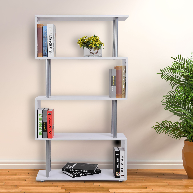 HOMCOM 4-Tires Wooden Bookcase S Shape Storage Display Unit Home Organizer Room Divider