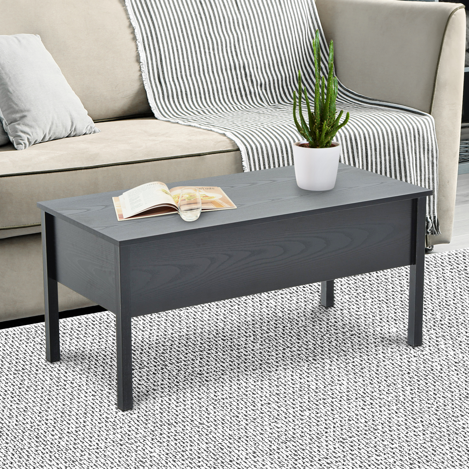 Coffee Table Extendable Top.Details About 39 Modern Lift Top Coffee Table Extendable Floating Desk Hidden Storage