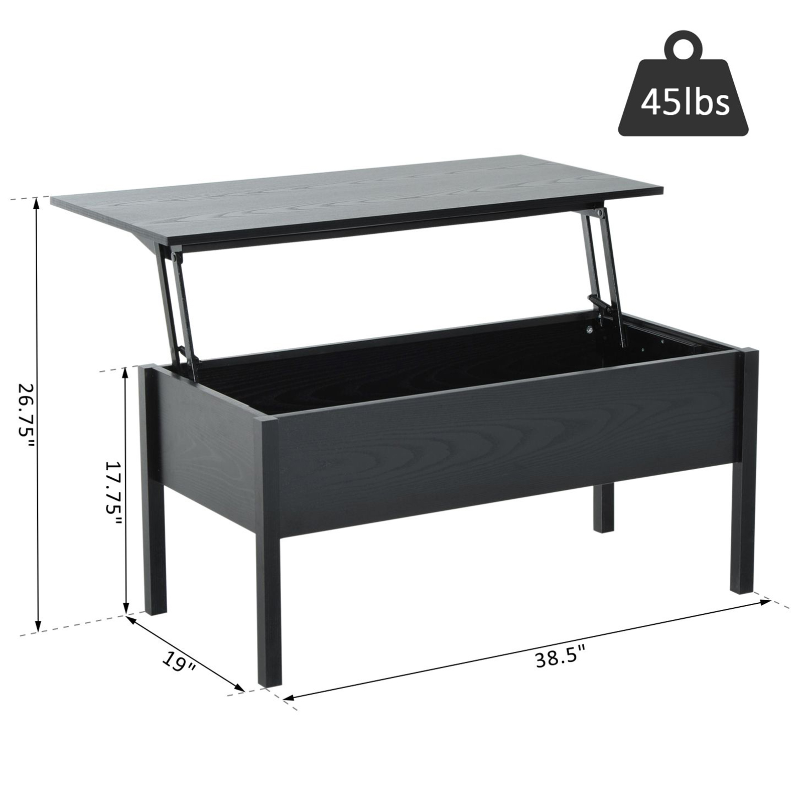 39-Modern-Lift-Top-Coffee-Table-Floating-Retractable-Lift-Top-Hidden-Storage thumbnail 3
