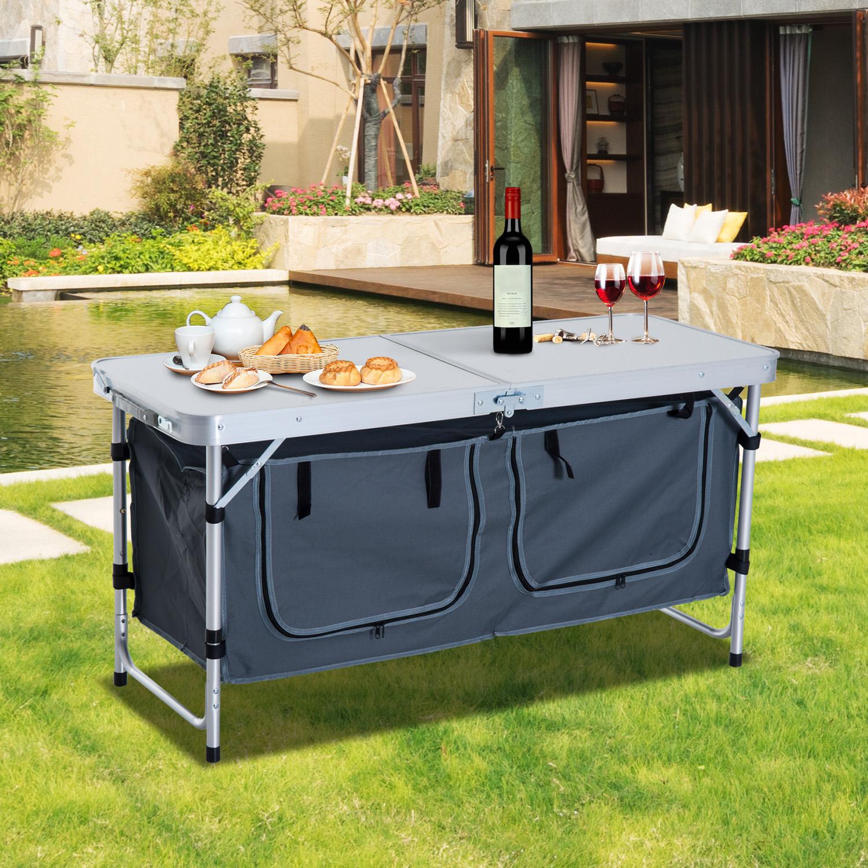 Portable Folding Camping Picnic Table Outdoor Garden BBQ Aluminium Carry Handles