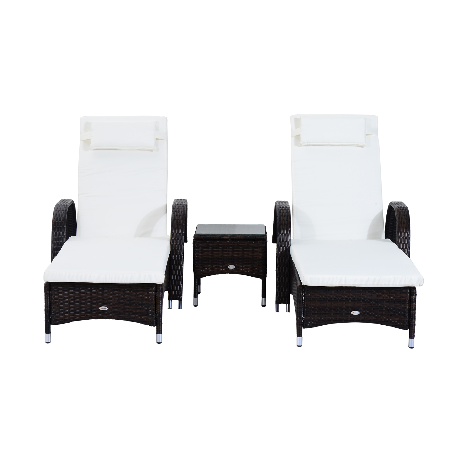 3pcs-Wheeled-Patio-Rattan-Lounge-Set-Adjustable-Reclining-Chaise-w-Side-Table thumbnail 15