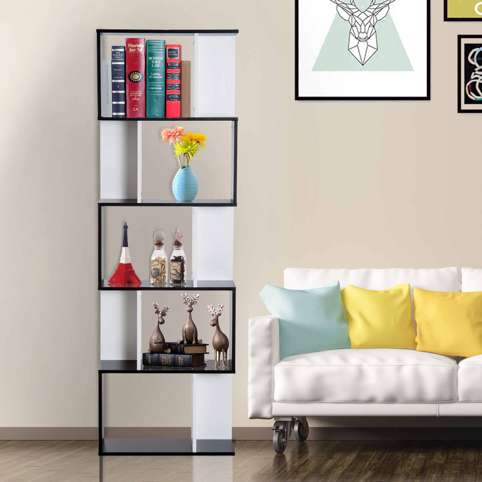 Modern S Shaped Bookcase Display Unit Storage Rack Living Room